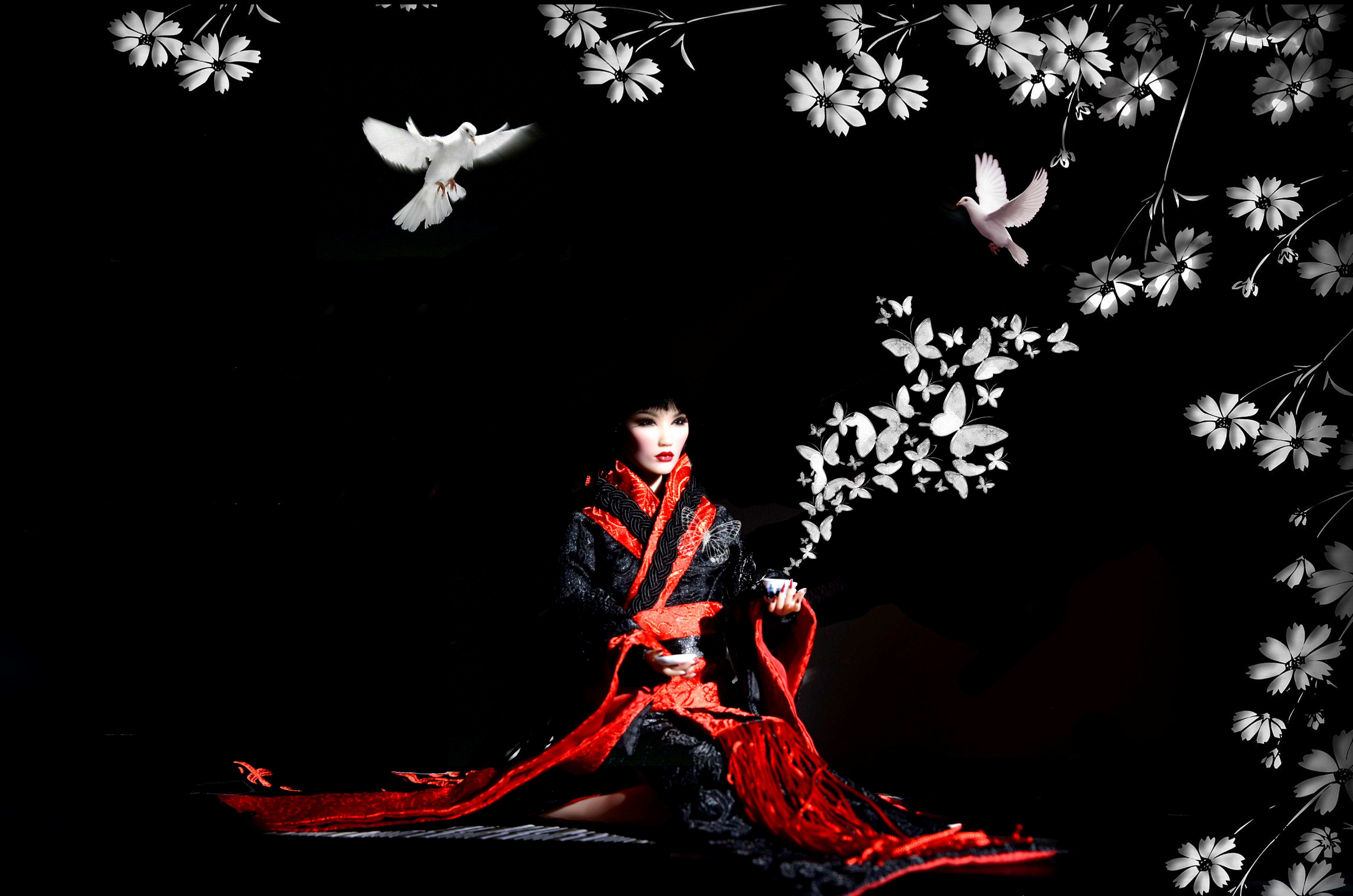 デスクトップ壁紙 黒 赤 着物 ダンサー 人形 芸者 女性 闇