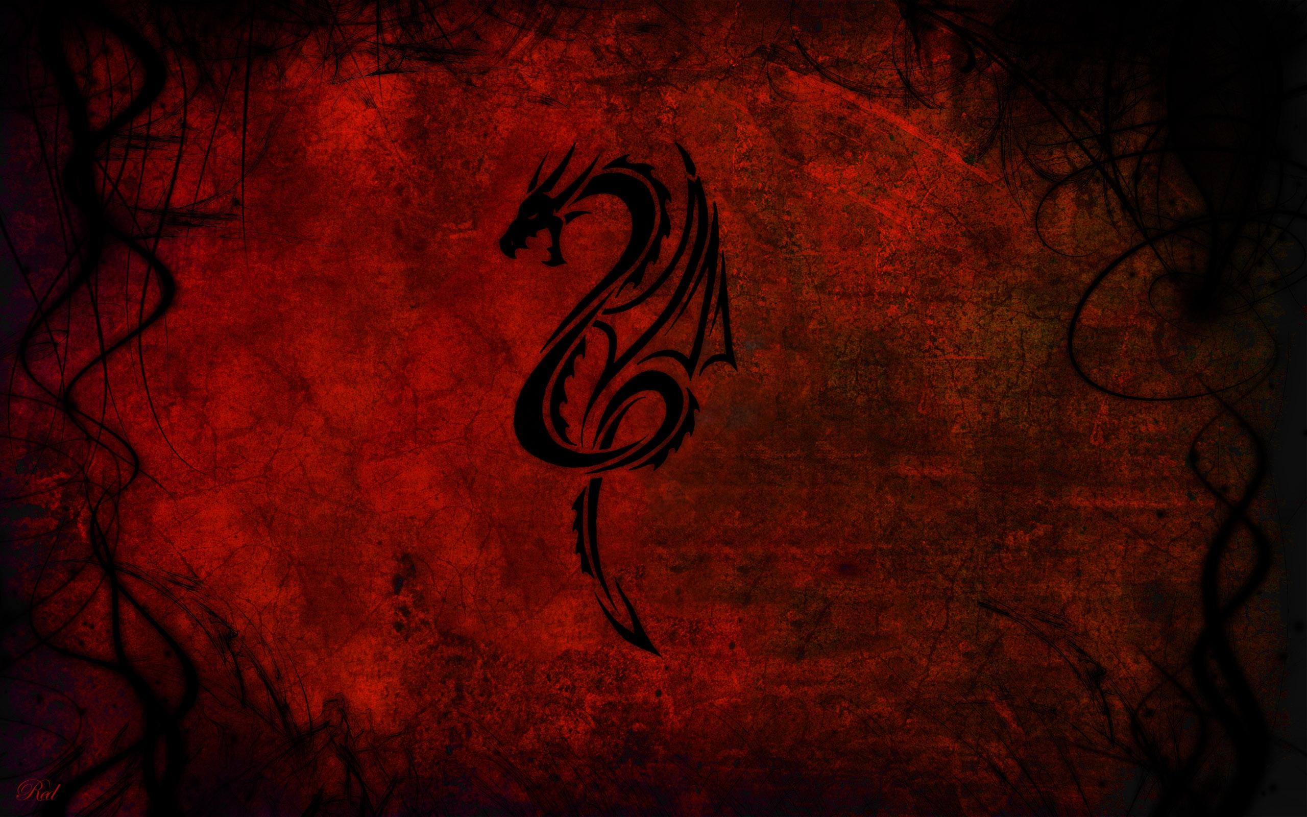 Wallpaper Black Red Pattern Dragon Texture Art Darkness