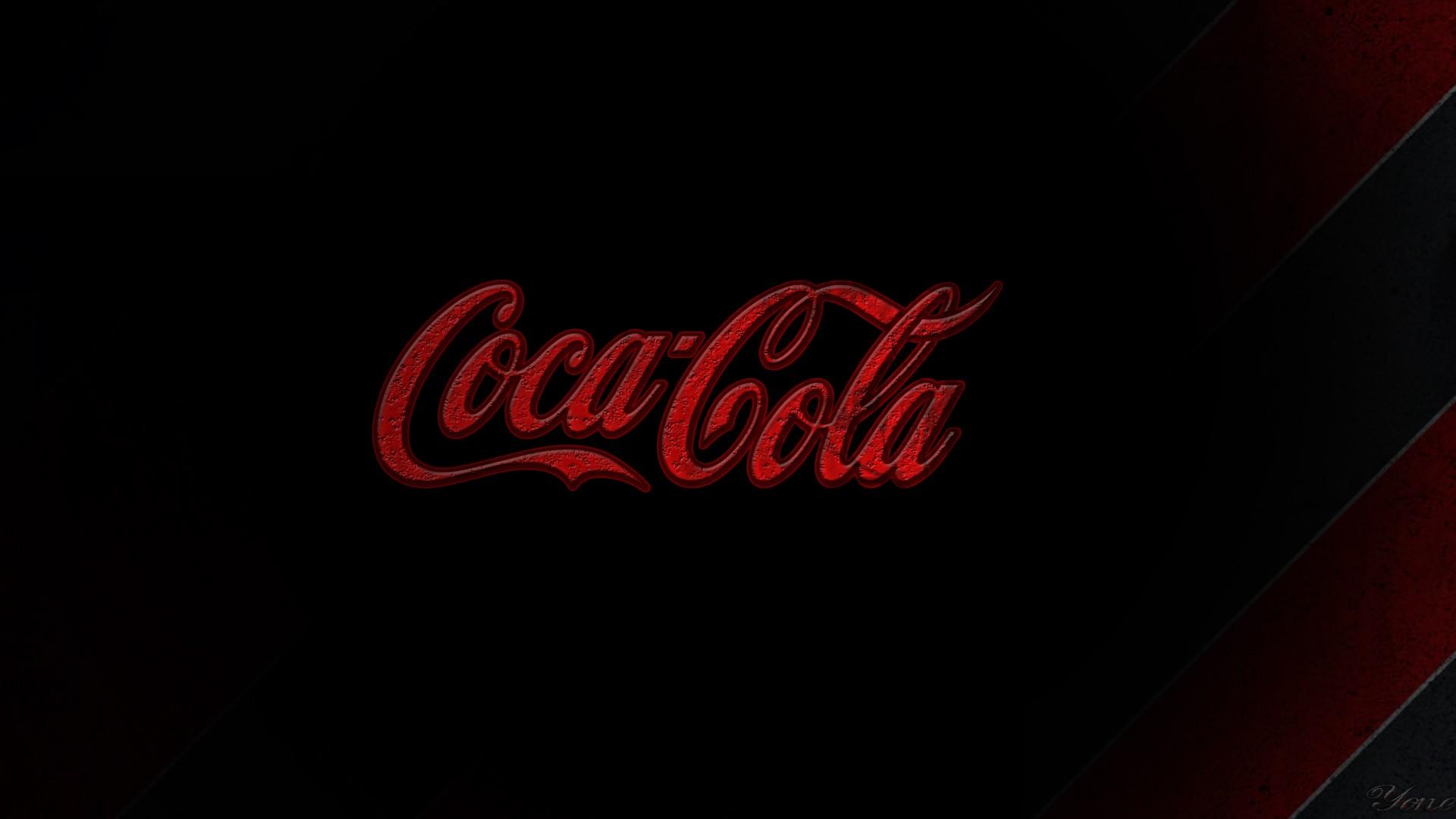 Sfondi Nero Rosso Testo Logo Bere Coca Cola Marca Sfondo