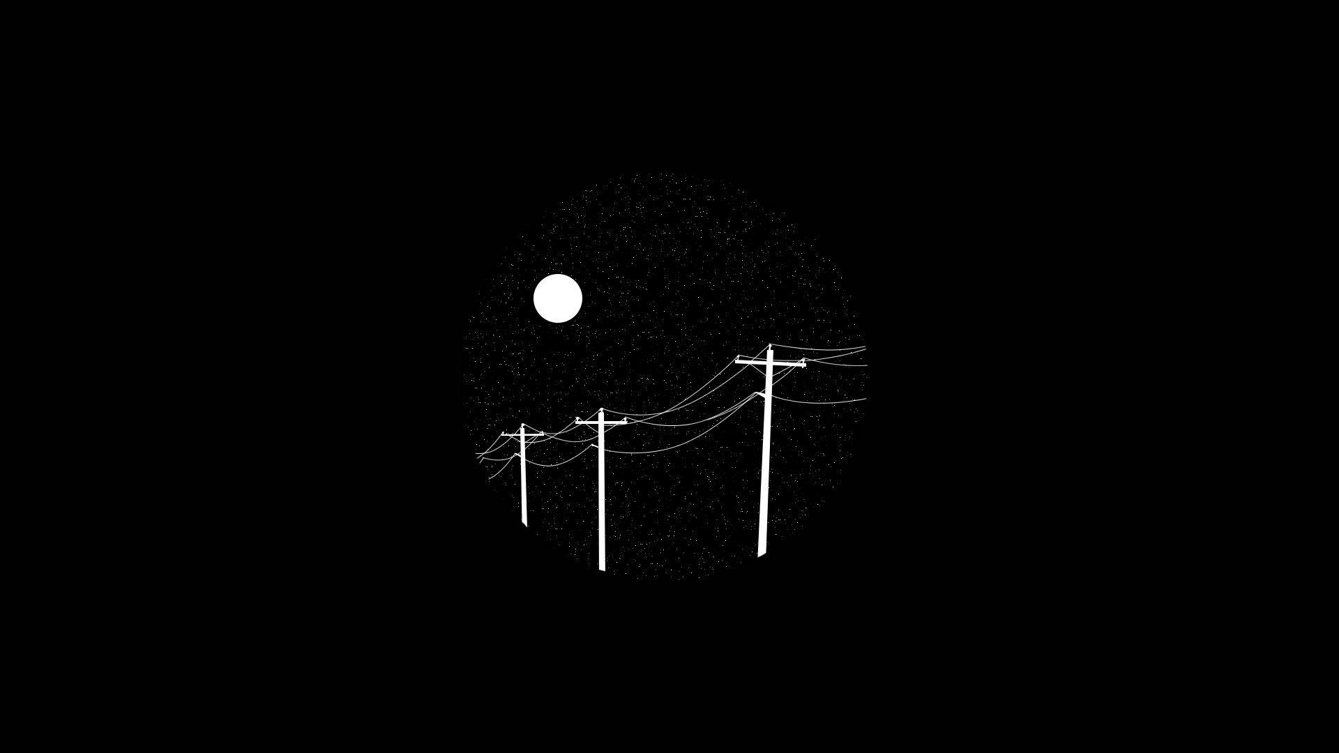 black simple minimalism white sky dark night stars circle Moon 1828723