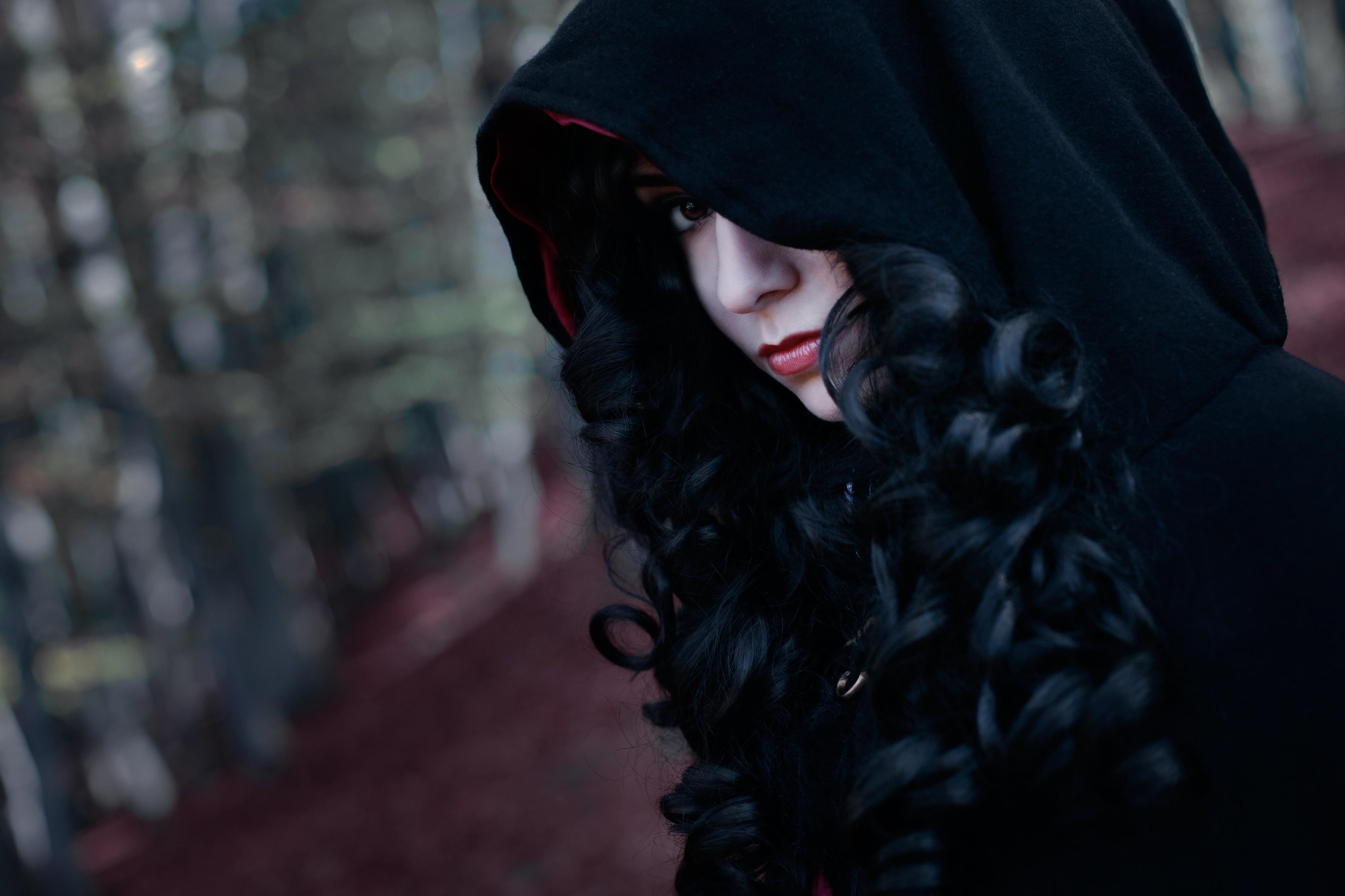 Wallpaper Women Cosplay Portrait Brunette Hoods Black Hair Curly Hair Fashion The Witcher 3 Wild Hunt Yennefer Of Vengerberg Darkness 4000x2666 Maharaj 54473 Hd Wallpapers Wallhere
