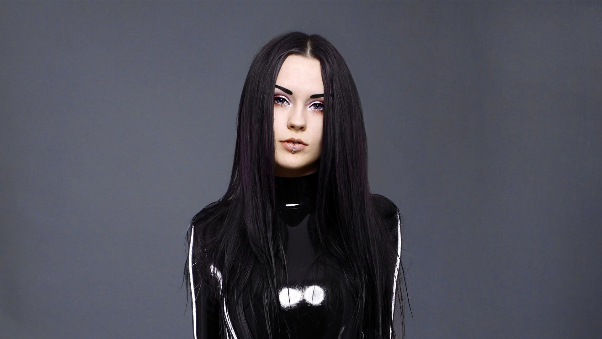 Wallpaper Women Model Dark Hair Fashion Pierced Lips Violet