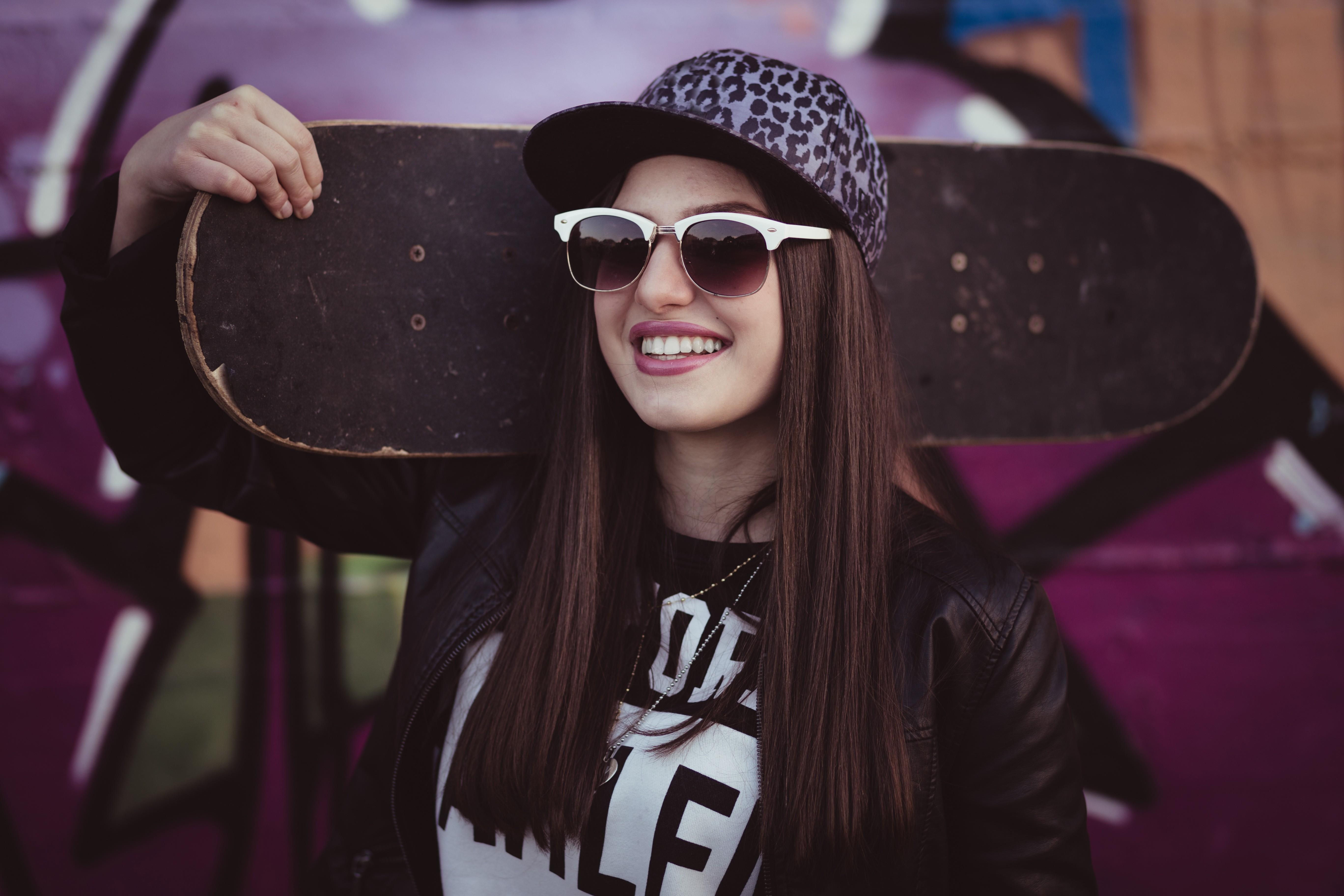 black women model sunglasses glasses smiling fashion skateboard clothing color girl beauty lady vision care eyewear