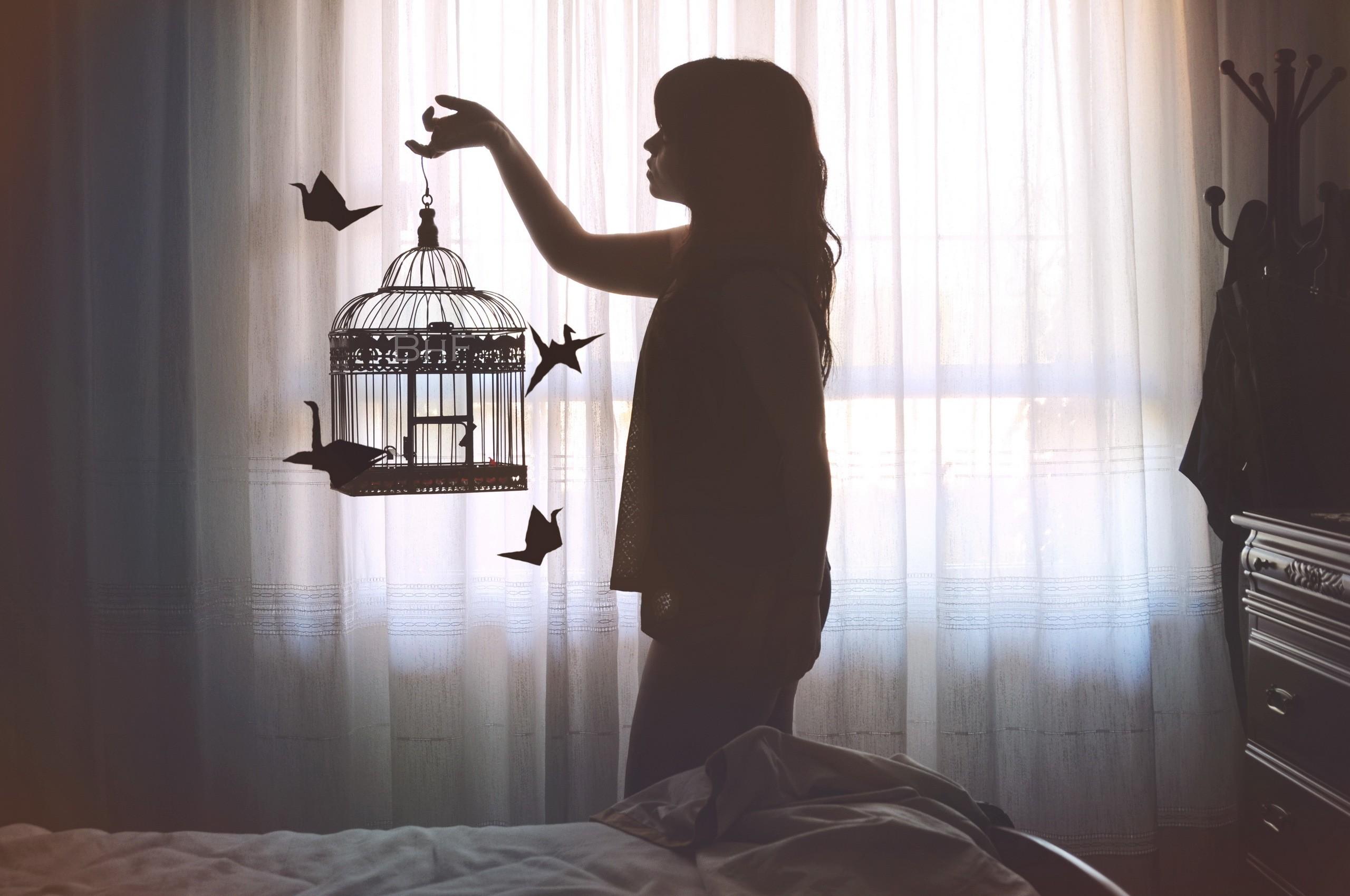Đen Đàn Bà Mô Hình Cửa Sổ Ngồi Trang Phục Thiết Kế Nội Thất Chim Lồng