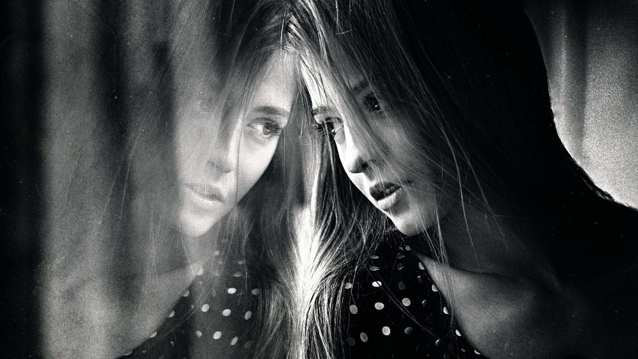 Fond Décran Femmes Monochrome Maquette Portrait
