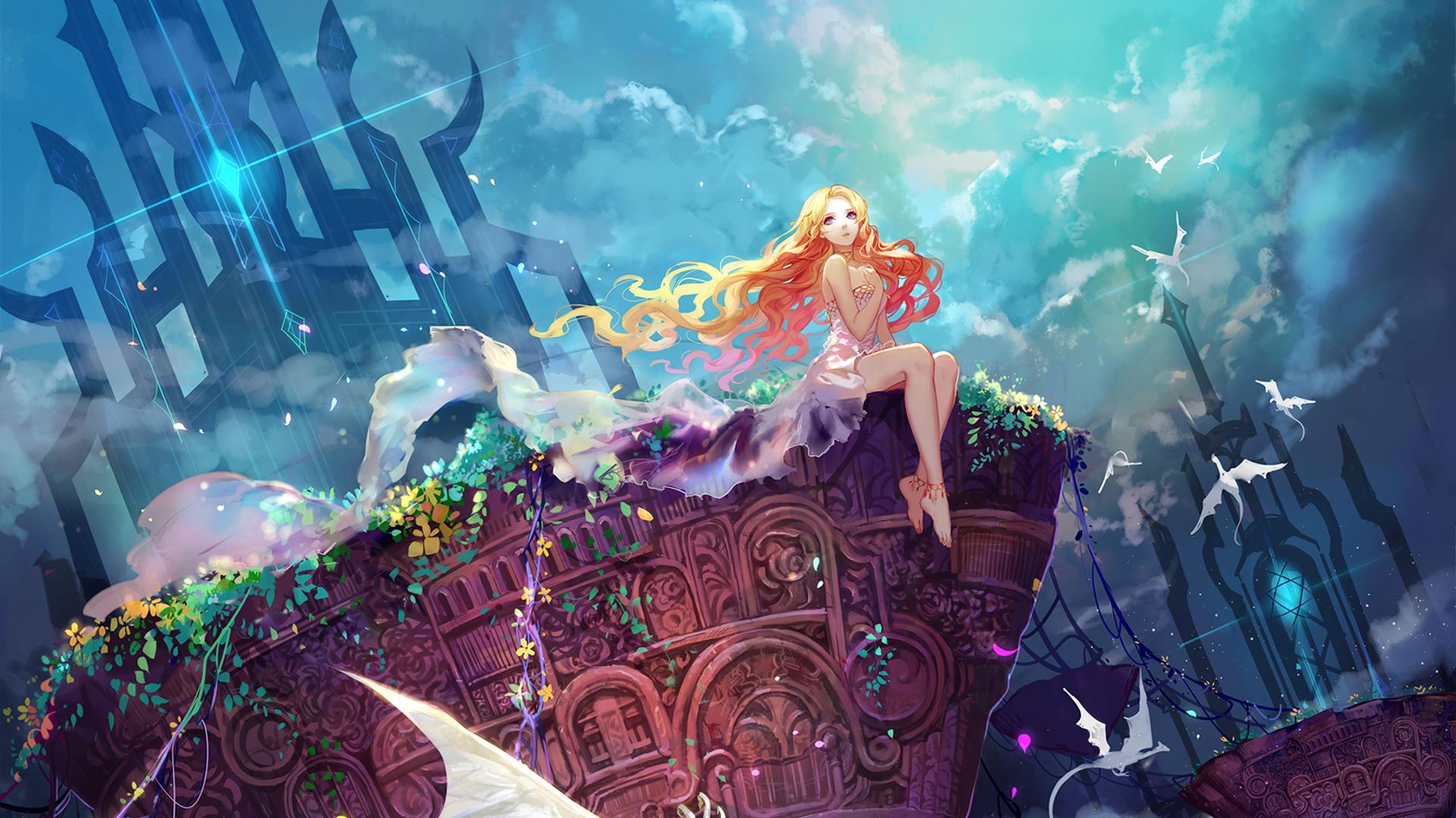 blonde anime anime girls blue eyes sky castle portal magic underwater dragon mythology Carnival screenshot computer