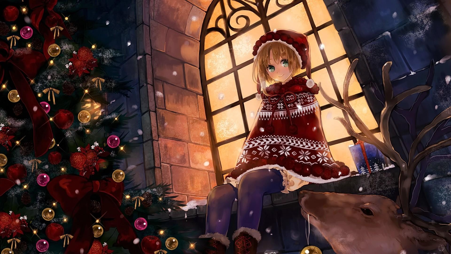Sfondi Natalizi Originali.Sfondi Bionda Anime Girls Capelli Corti Guardando Spettatore
