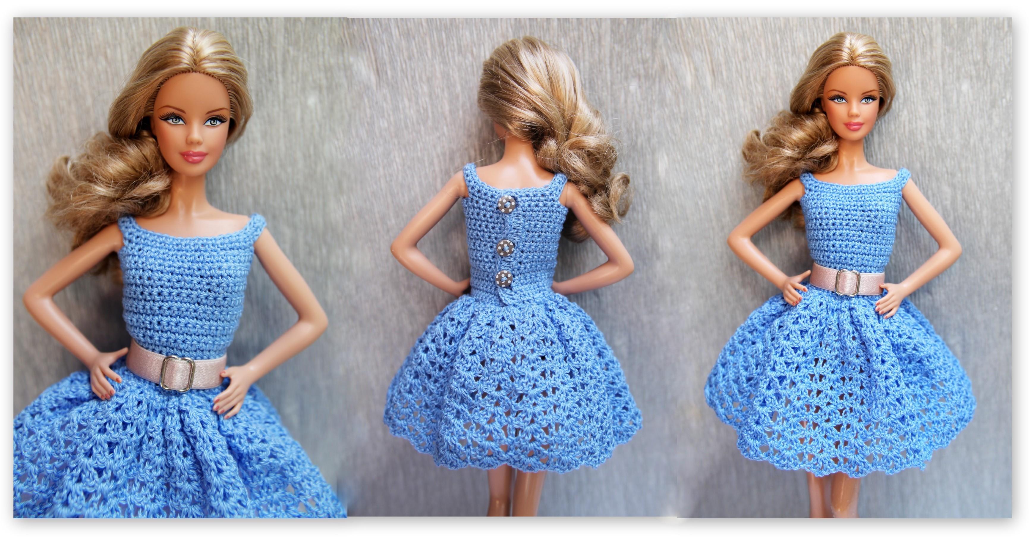 Hintergrundbilder Blau Gürtel Puppe Kleid Häkeln Barbie