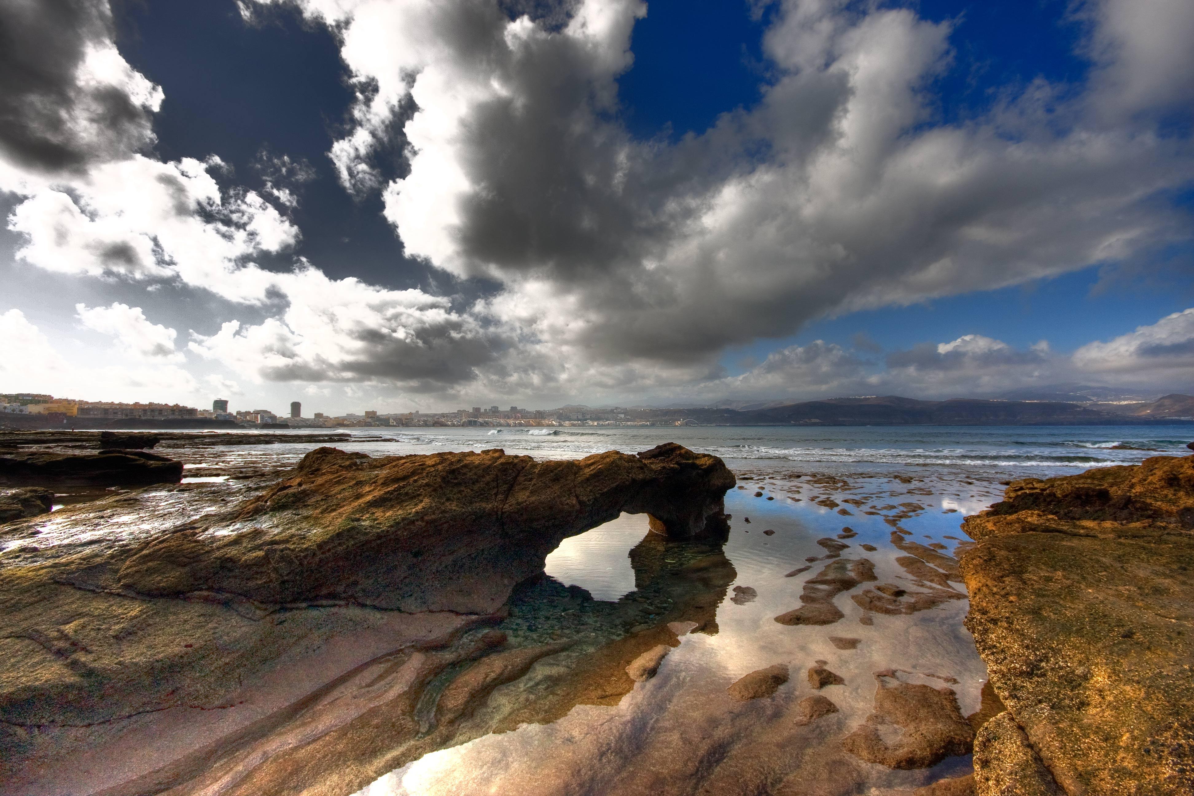 Wallpaper Blue Sea Espana Beach Grancanaria Azul