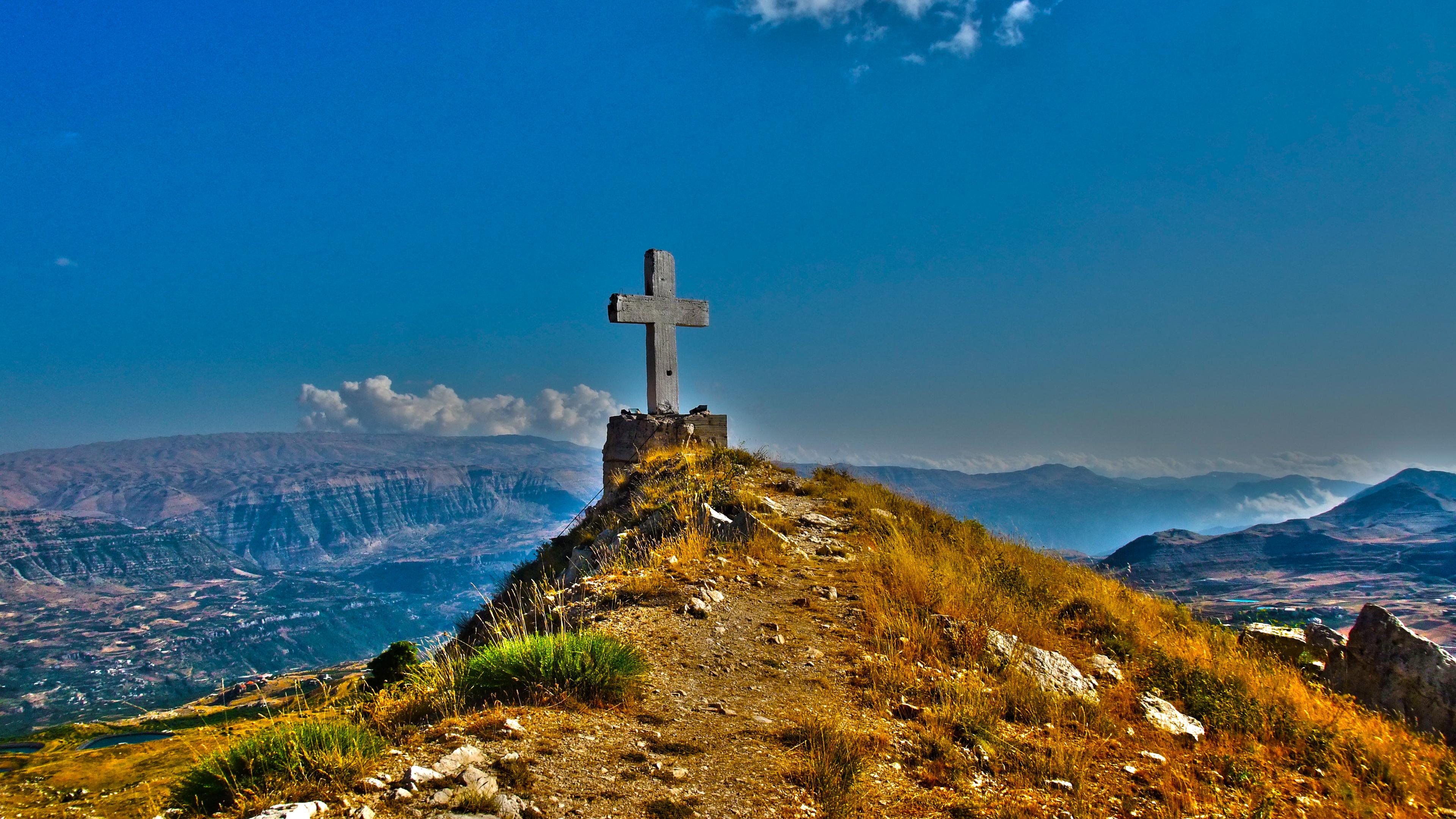 Wallpaper Blue Sky Lebanon Lake Mountains Church