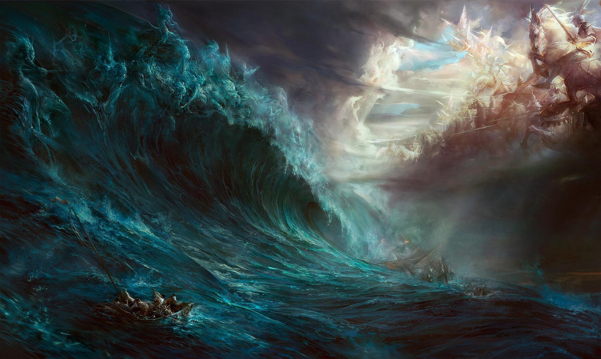 Wallpaper Boat Fantasy Art Sea Storm Heaven Hell