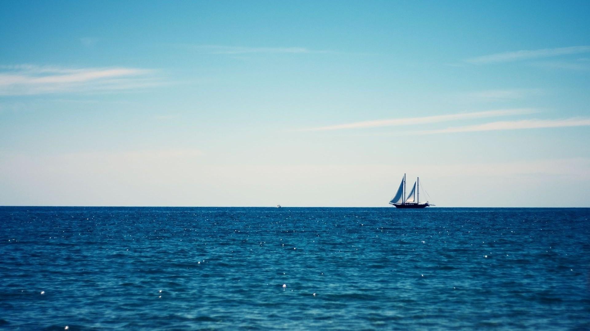 Boat Sailing Ship Sea Bay Water Minimalism Sky Vehicle Clouds Beach Horizon Dusk Ocean Sailboat