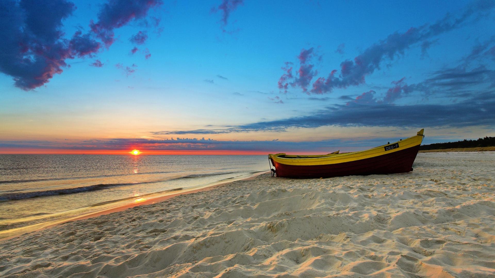 wallpaper : boat, sunset, sea, bay, shore, sand, sky, vehicle, beach