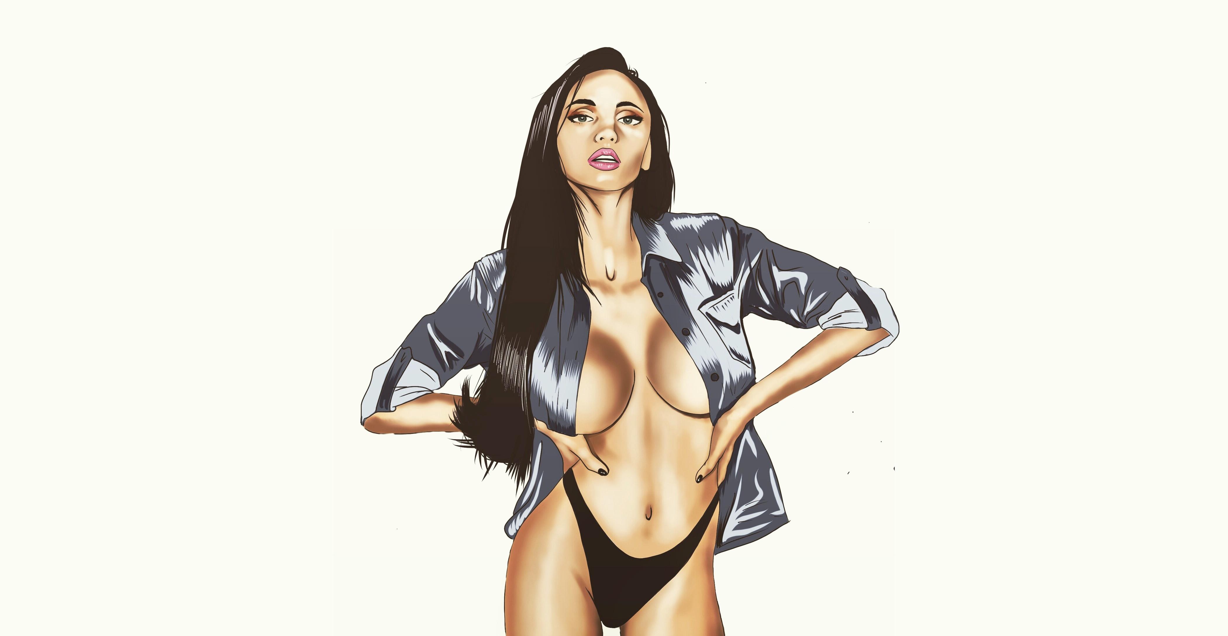 Wallpaper Big Boobs Women Artwork Black Panties Simple