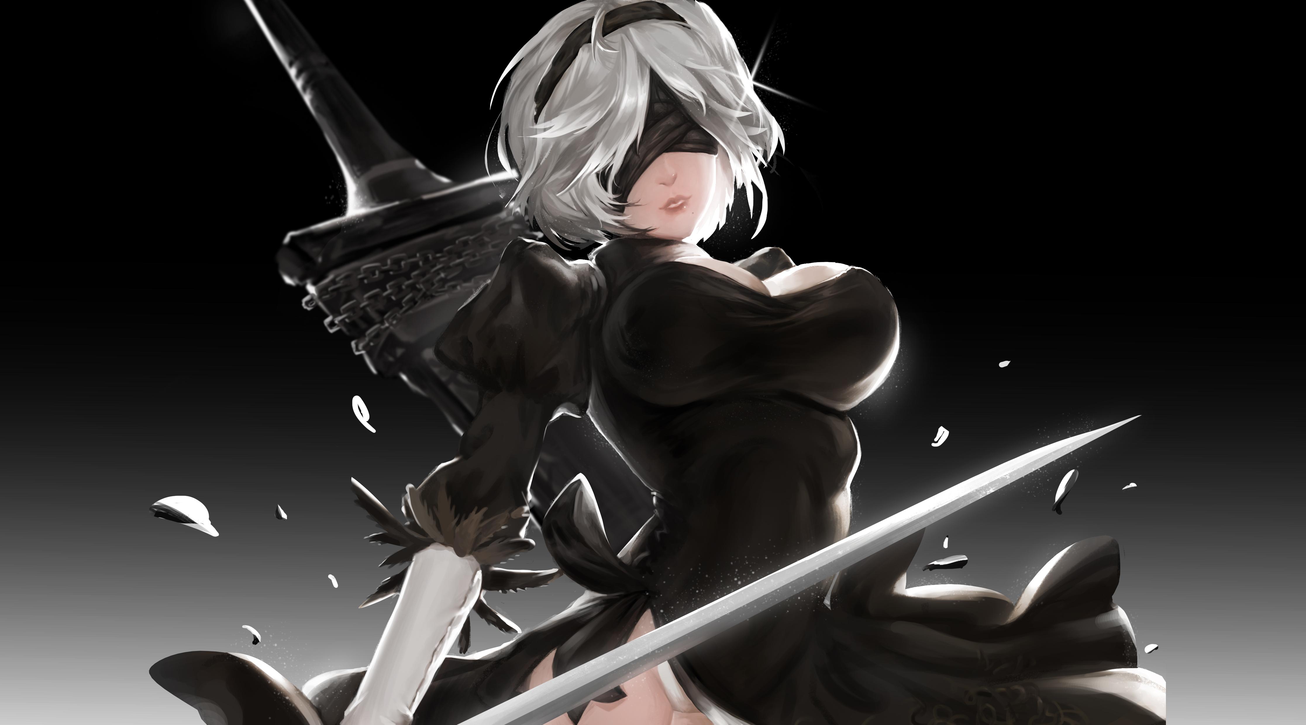 デスクトップ壁紙 おっぱい 黒いドレス Nier ニアオートマタ 剣 2b Nier Automata 4466x2480 Dragon デスクトップ壁紙 Wallhere
