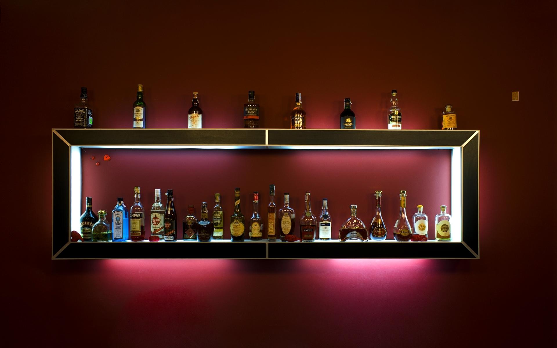 Bottles Drink Bar Shelf Alcohol Drinks Distilled Beverage