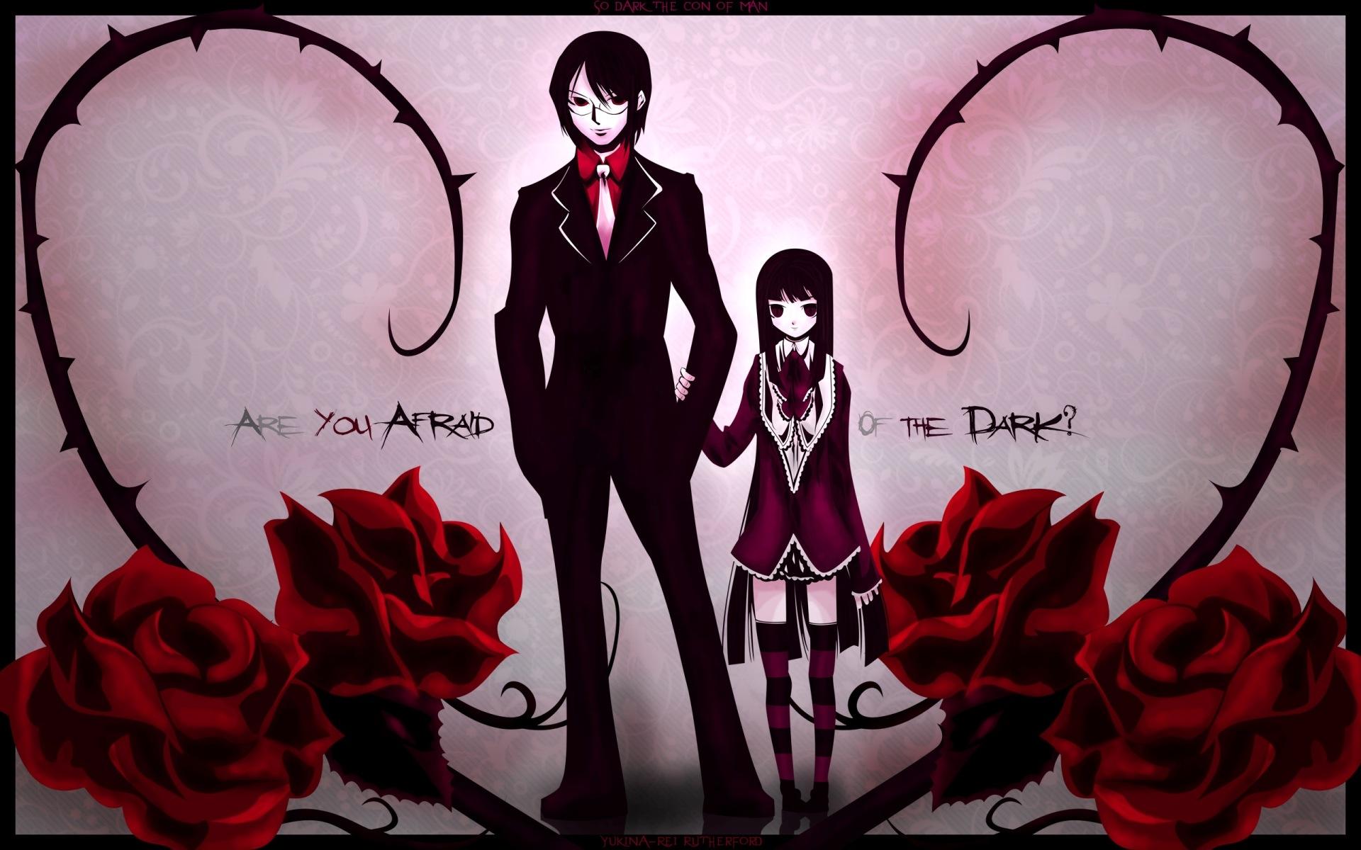 Wallpaper boy dark anime girl rose background - Boy with rose wallpaper ...