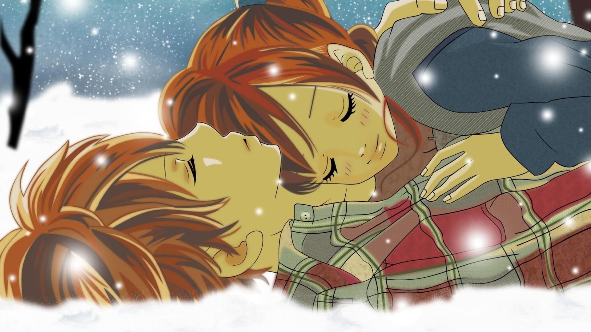 Ragazzo Ragazza Abbraccio La Neve Tenerezza