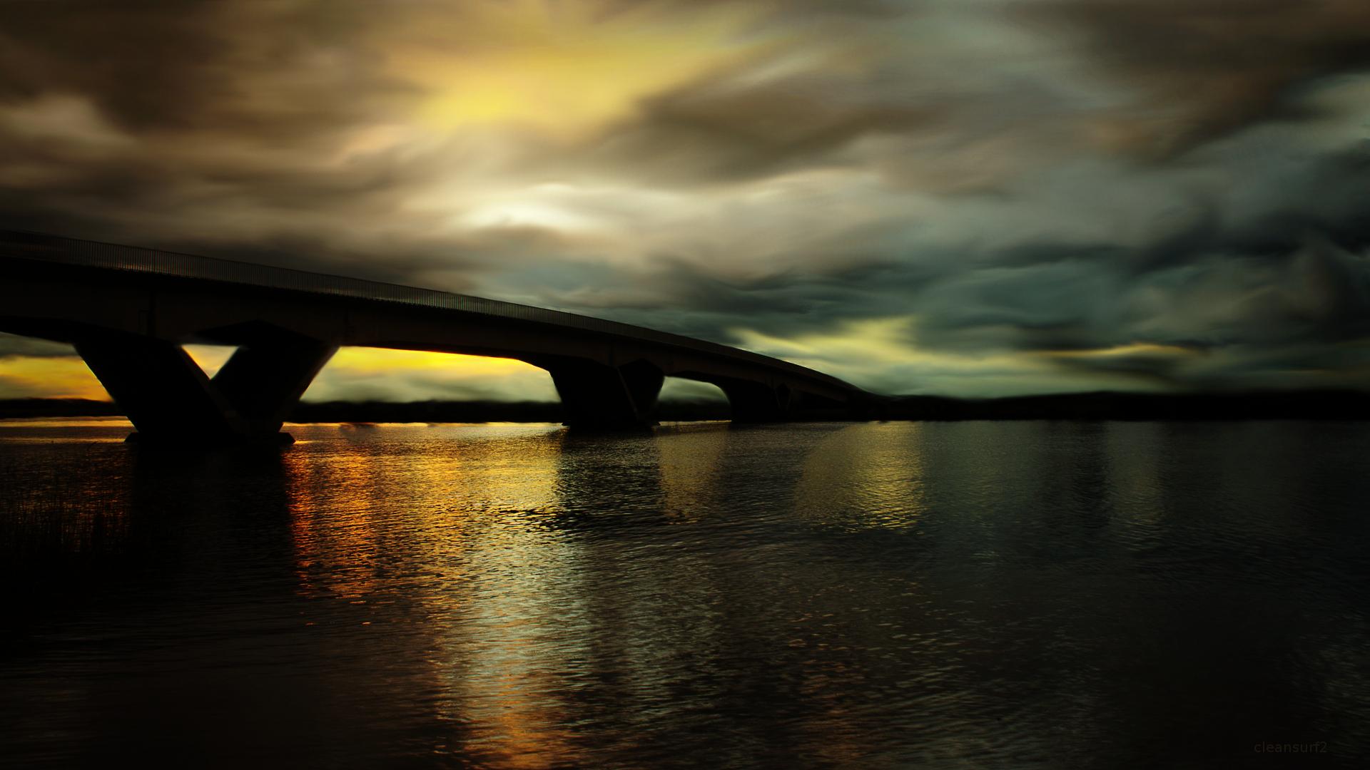 Masaüstü Köprü Gün Batımı Duvar Kağıdı Portakal Siyah Renk