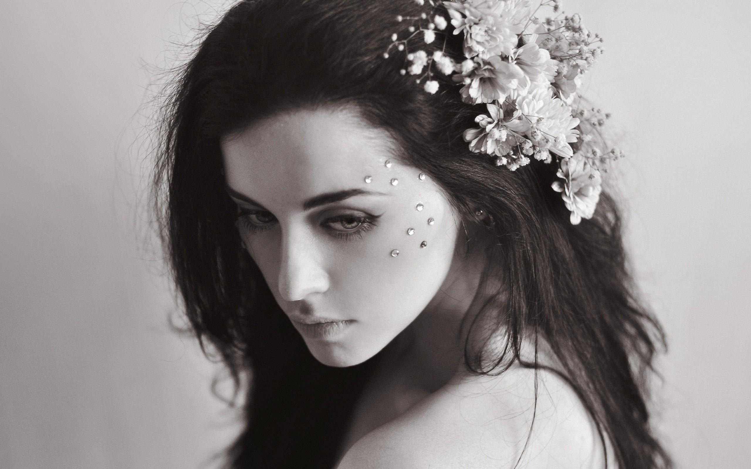 Brunette Hair Jewelry Melancholy Model Black And White