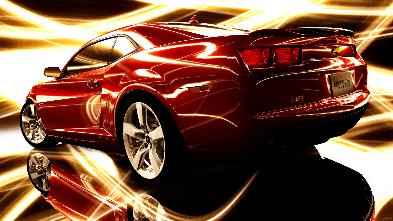 Wallpaper 3D Kendaraan CGI Camaro Mobil Sport