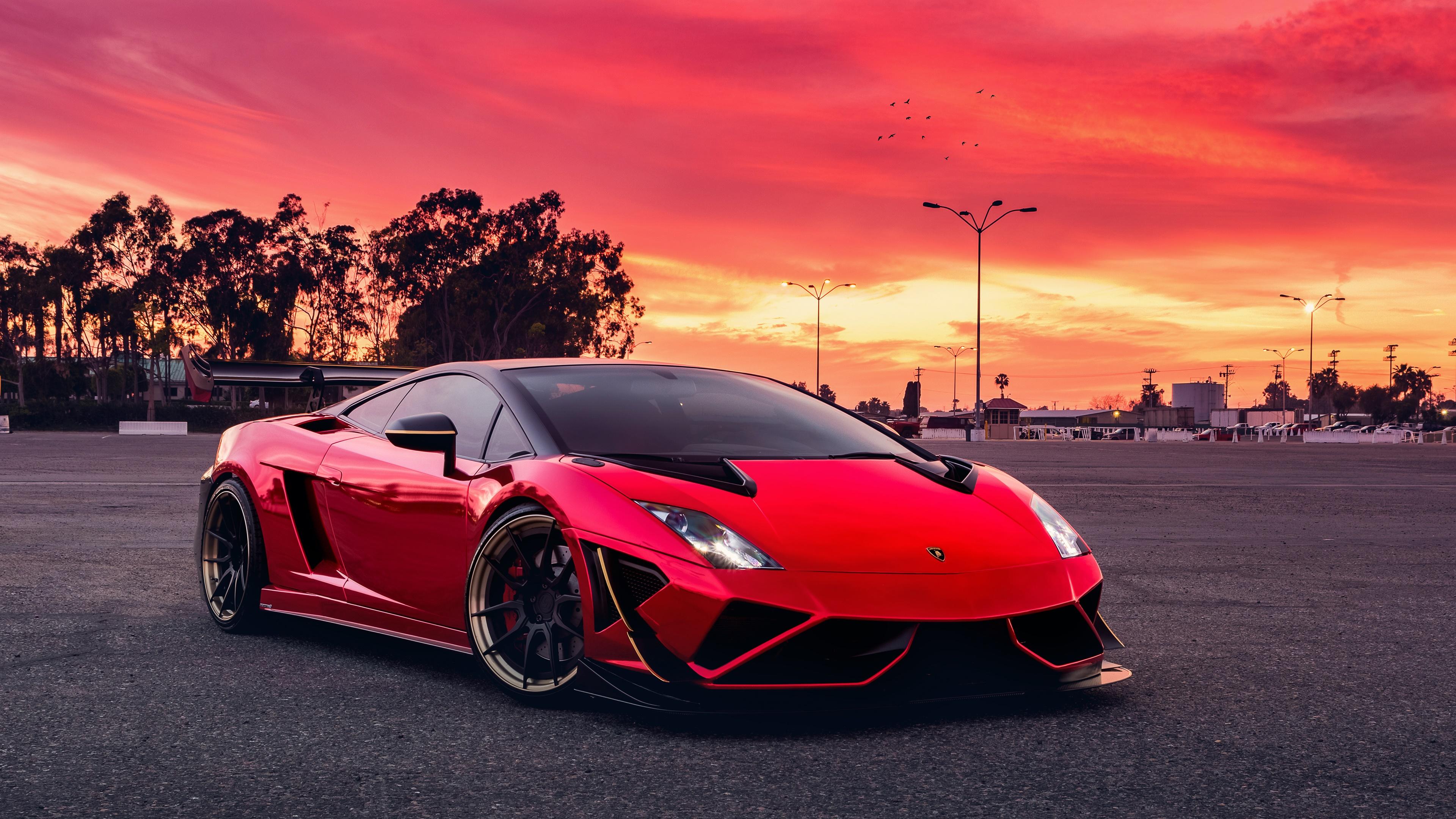 Wallpaper Car Lamborghini Gallardo Supercars Sunset Red Cars