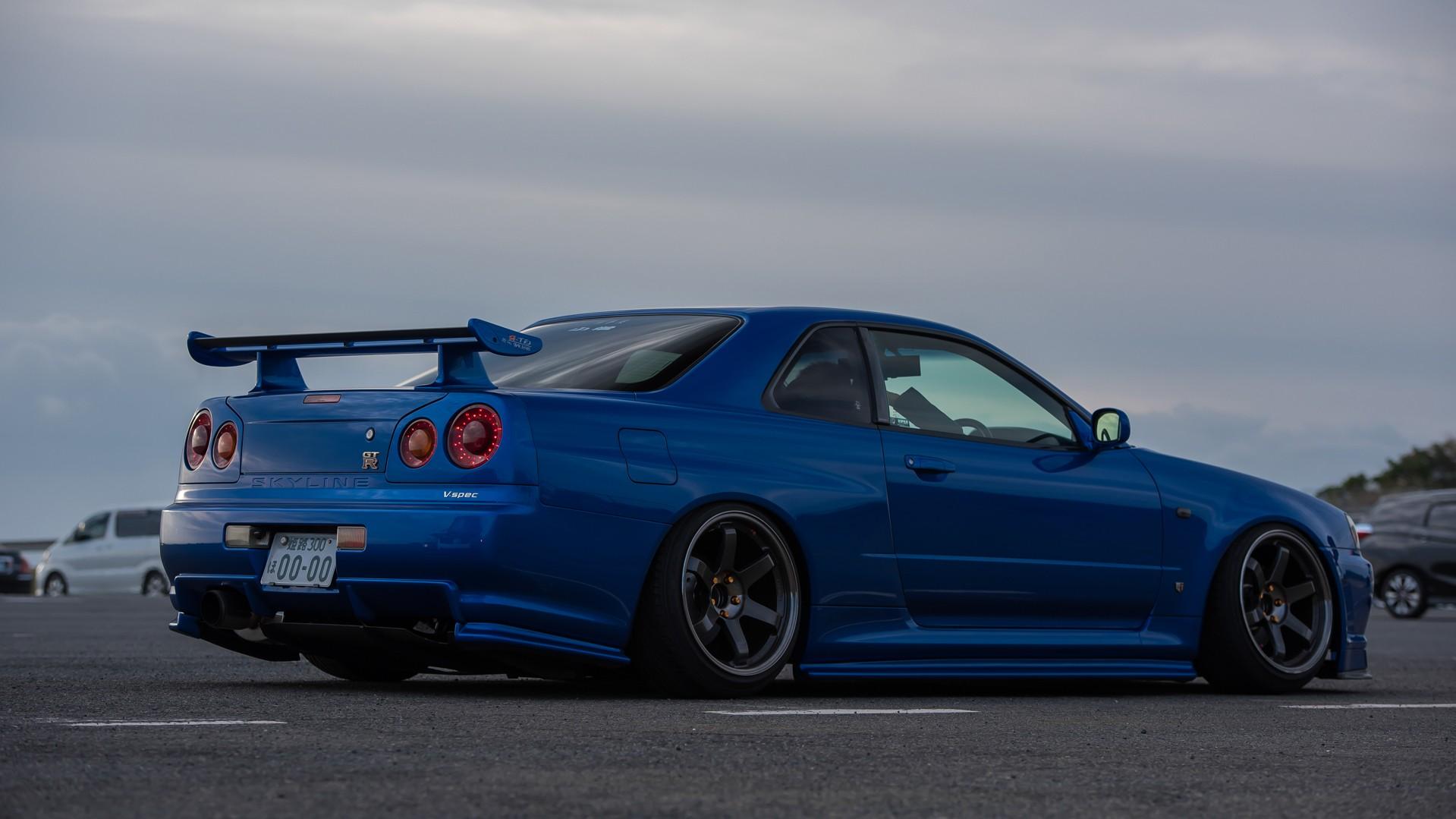 wallpaper : blue cars, skyline, honda, jdm, wheels, sports car, nissan  skyline, stance, performance car, skyline r34, camber, nissan skyline gt r  r34 nismo