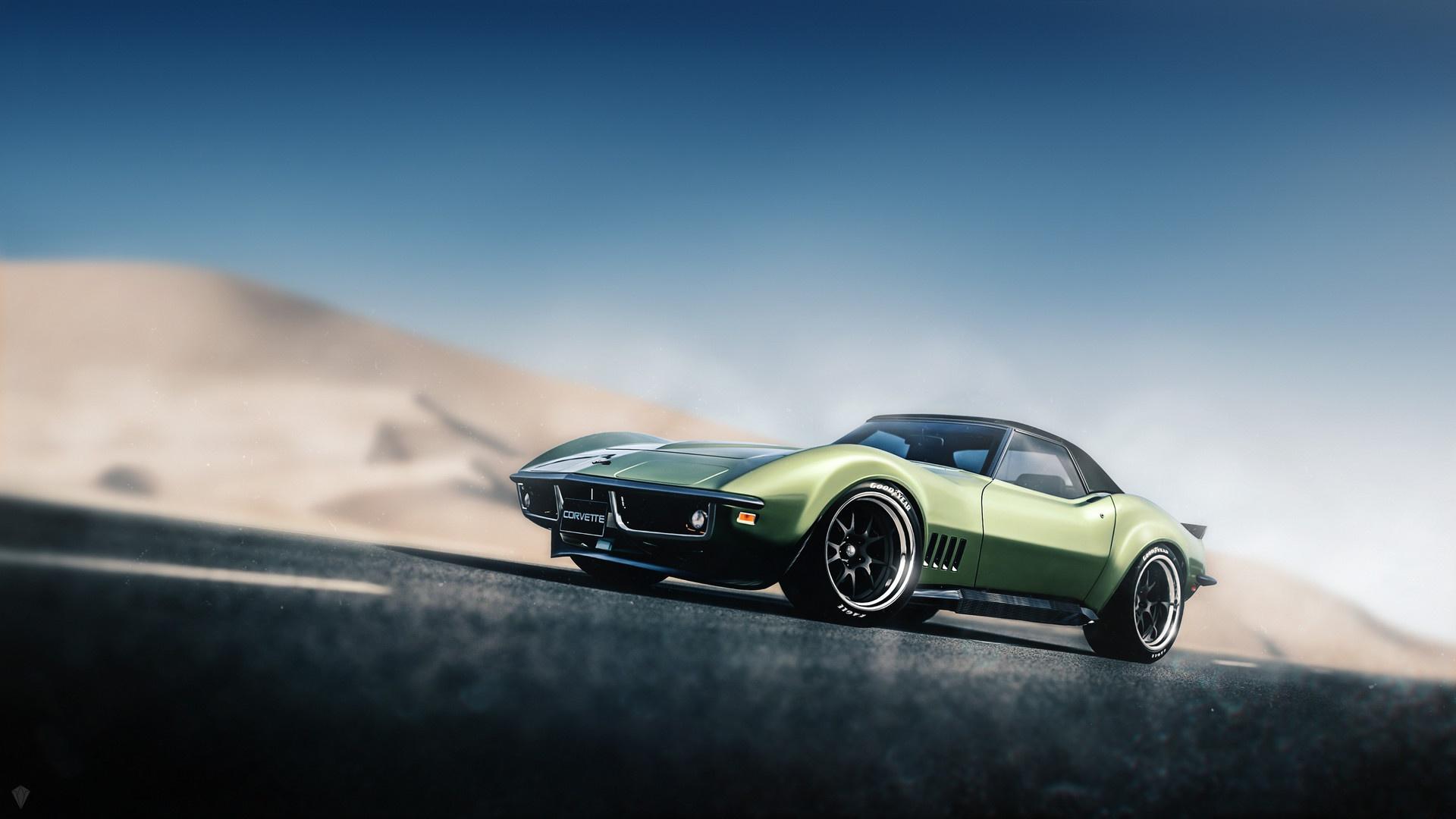 Wallpaper Car Vehicle Corvette Artwork Green Cars