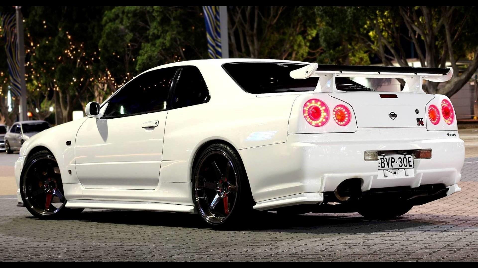 Wallpaper JDM Sports Car Nissan Skyline GT R R34 Performance Sedan V Spec II Wheel Rim Supercar