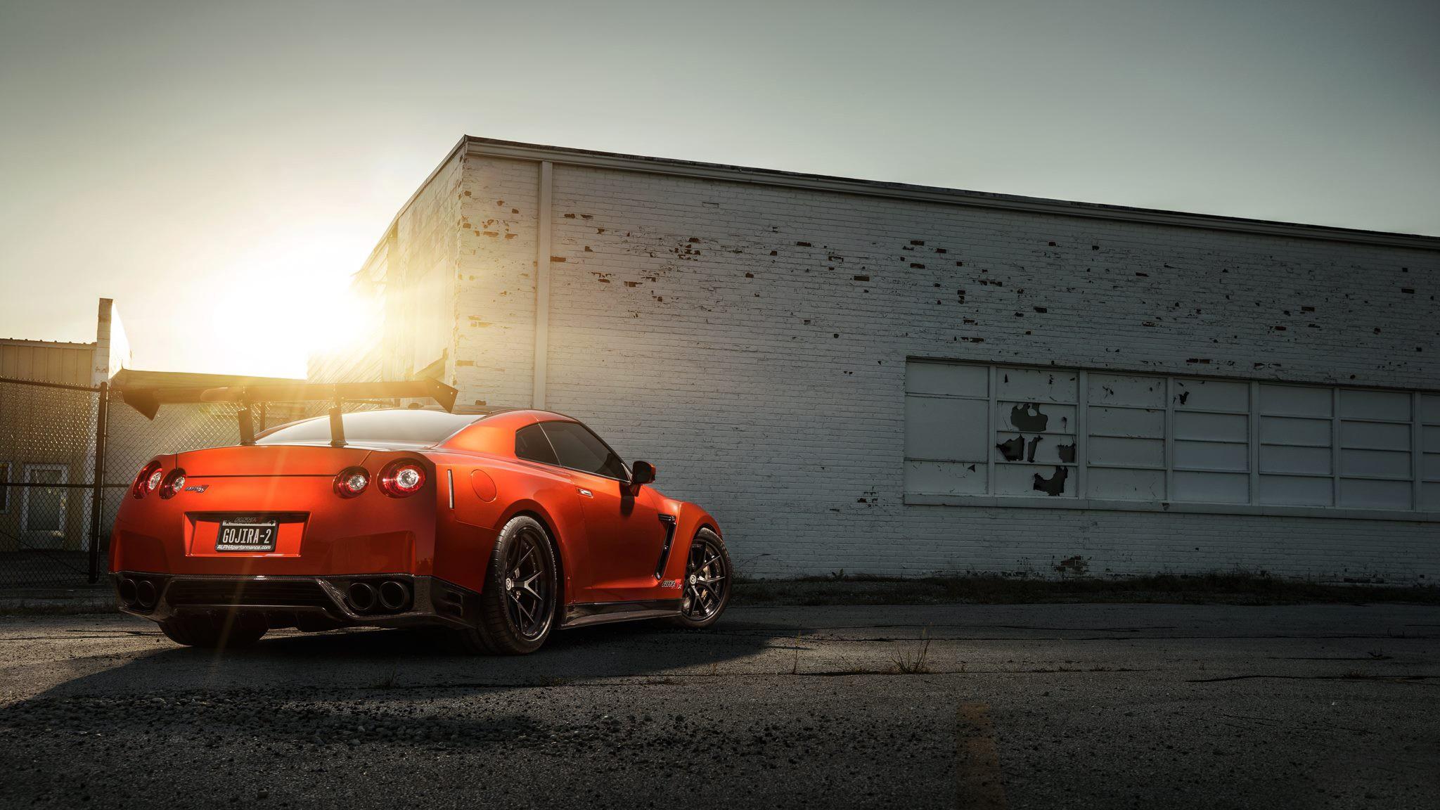 car vehicle Nissan Nissan GTR red cars sports car Nissan GT R coupe wheel supercar 2048x1152
