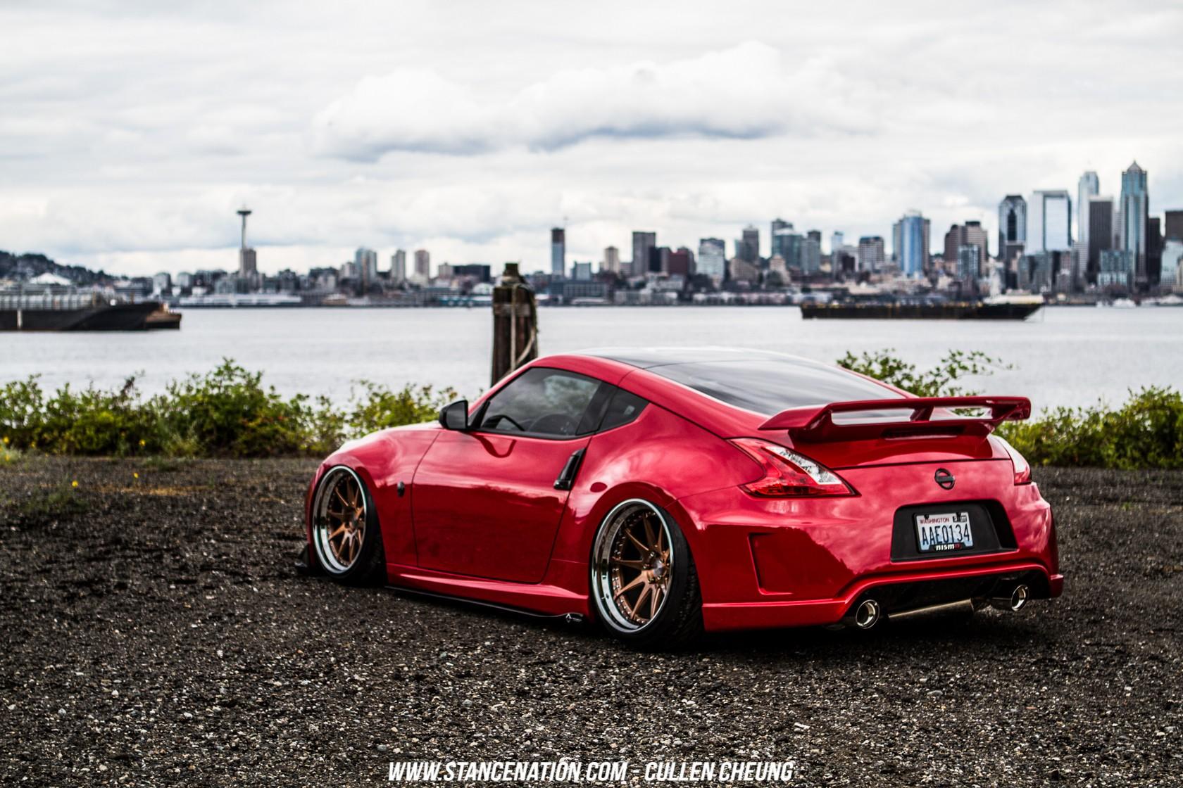 Wallpaper : red cars, sports car, Nissan 350Z, Stanceworks ...