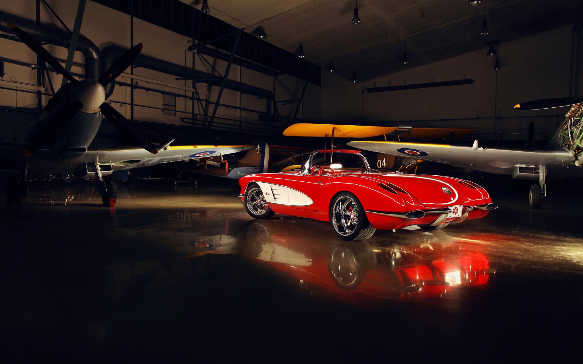 Wallpaper Airplane Red Cars Sports Car Corvette Performance