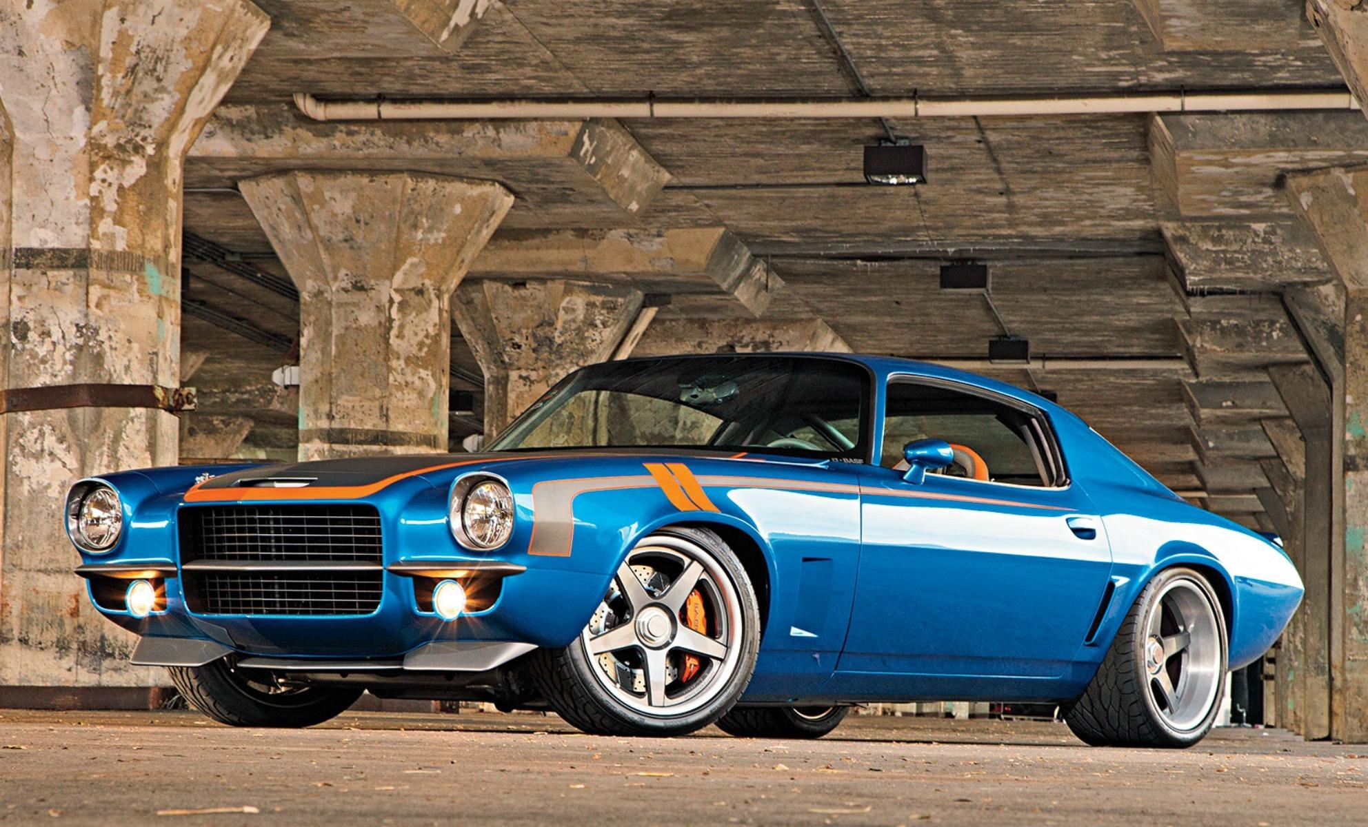 fond d 39 cran v hicule bleu vue de c t voiture de sport chevrolet camaro convertible. Black Bedroom Furniture Sets. Home Design Ideas