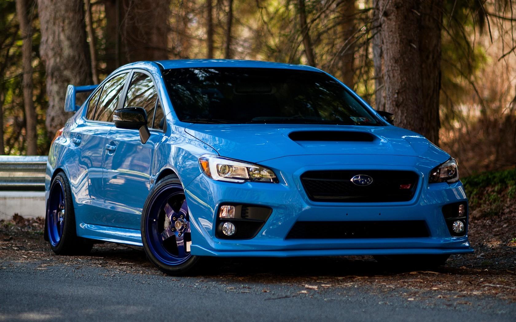 Wallpaper Blue Sports Car Subaru Impreza Wrx Sti Sedan Sti