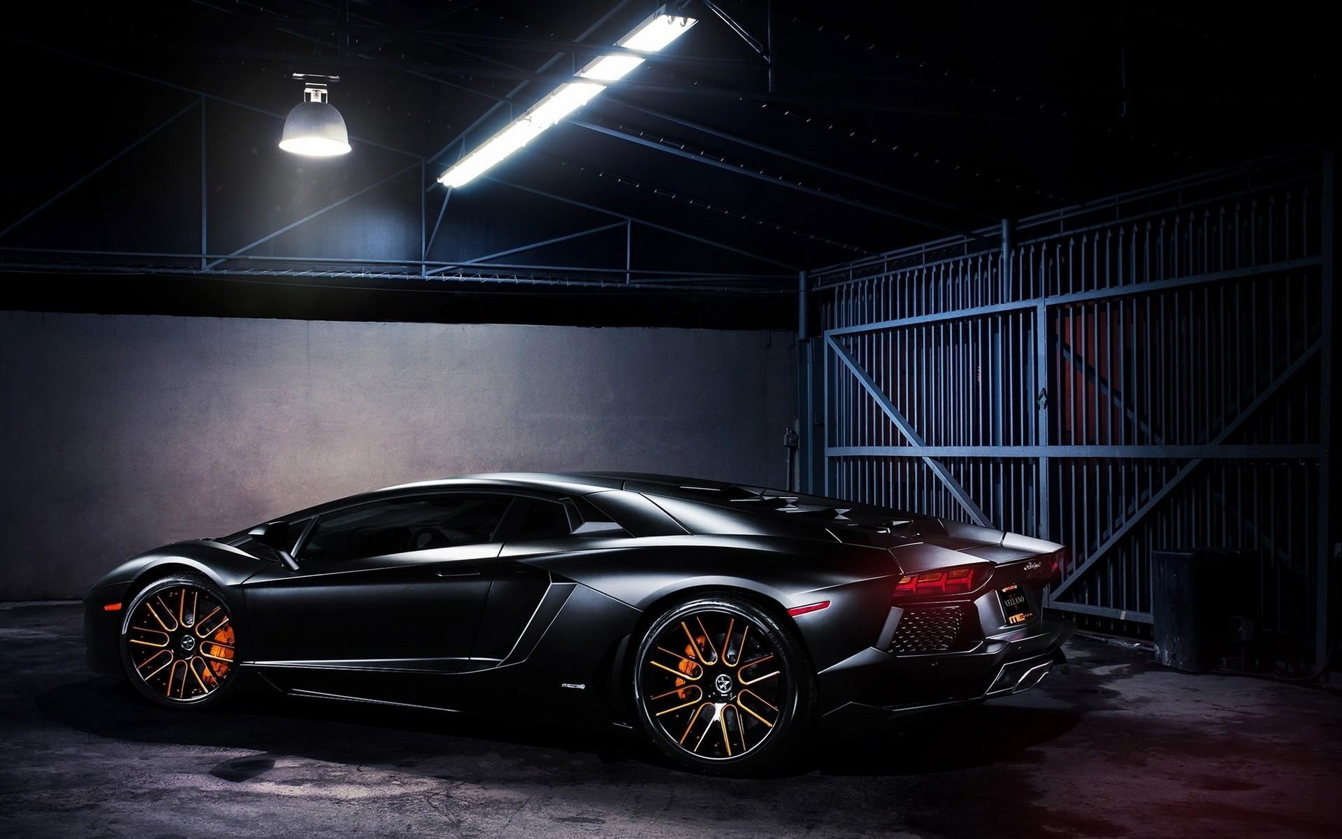 Wallpaper Lamp Lamborghini Aventador Black Cars Super