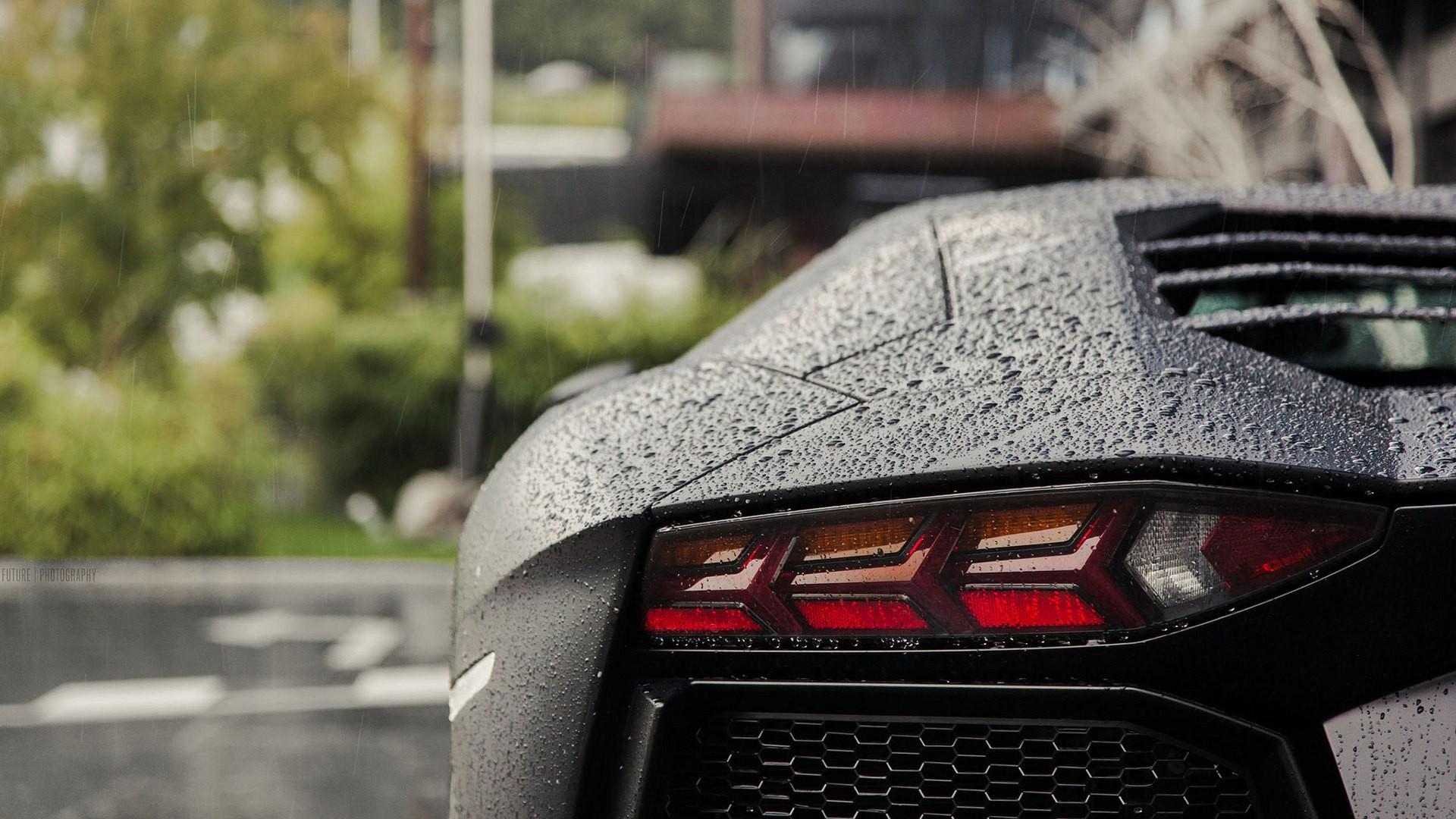 Wallpaper Rain Water Drops Lamborghini Aventador Black Cars Sports Car Performance 4 Wheel Supercar 1920x1080 Px Land Vehicle