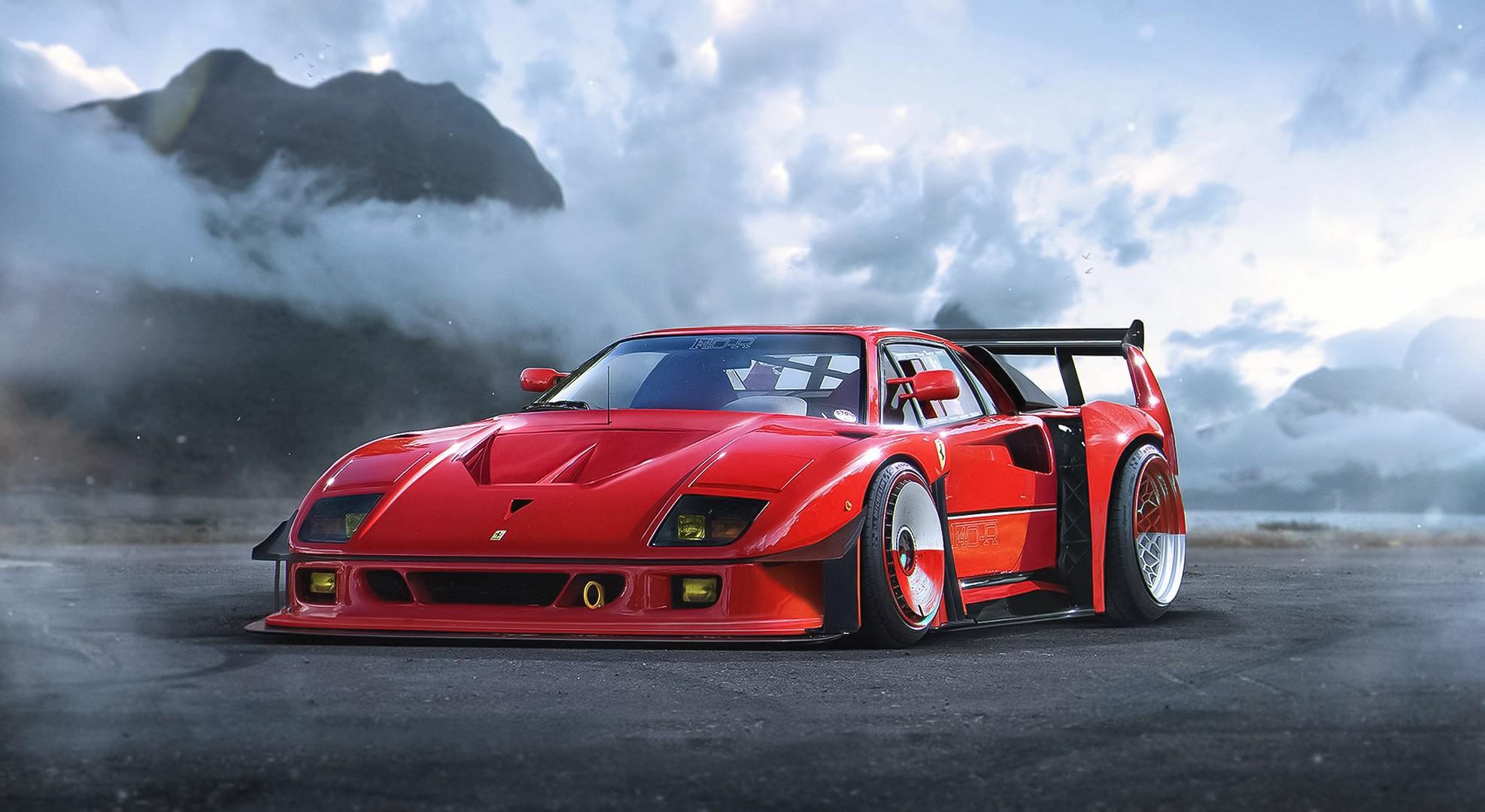 Wallpaper : red cars, sports car, Ferrari F40, performance ...