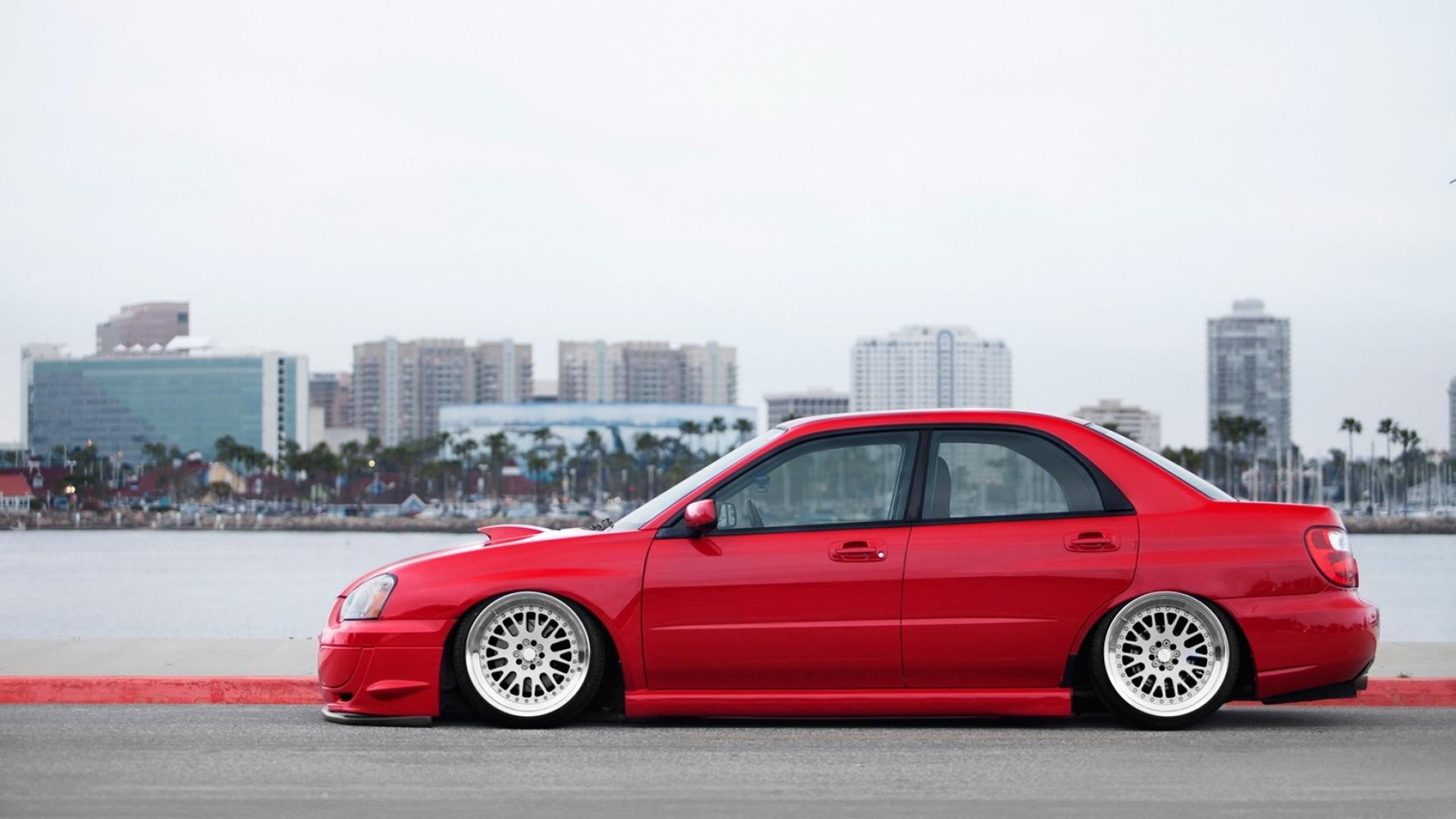 Wallpaper Red Cars Sports Car Subaru Impreza Wrx Sti Stance