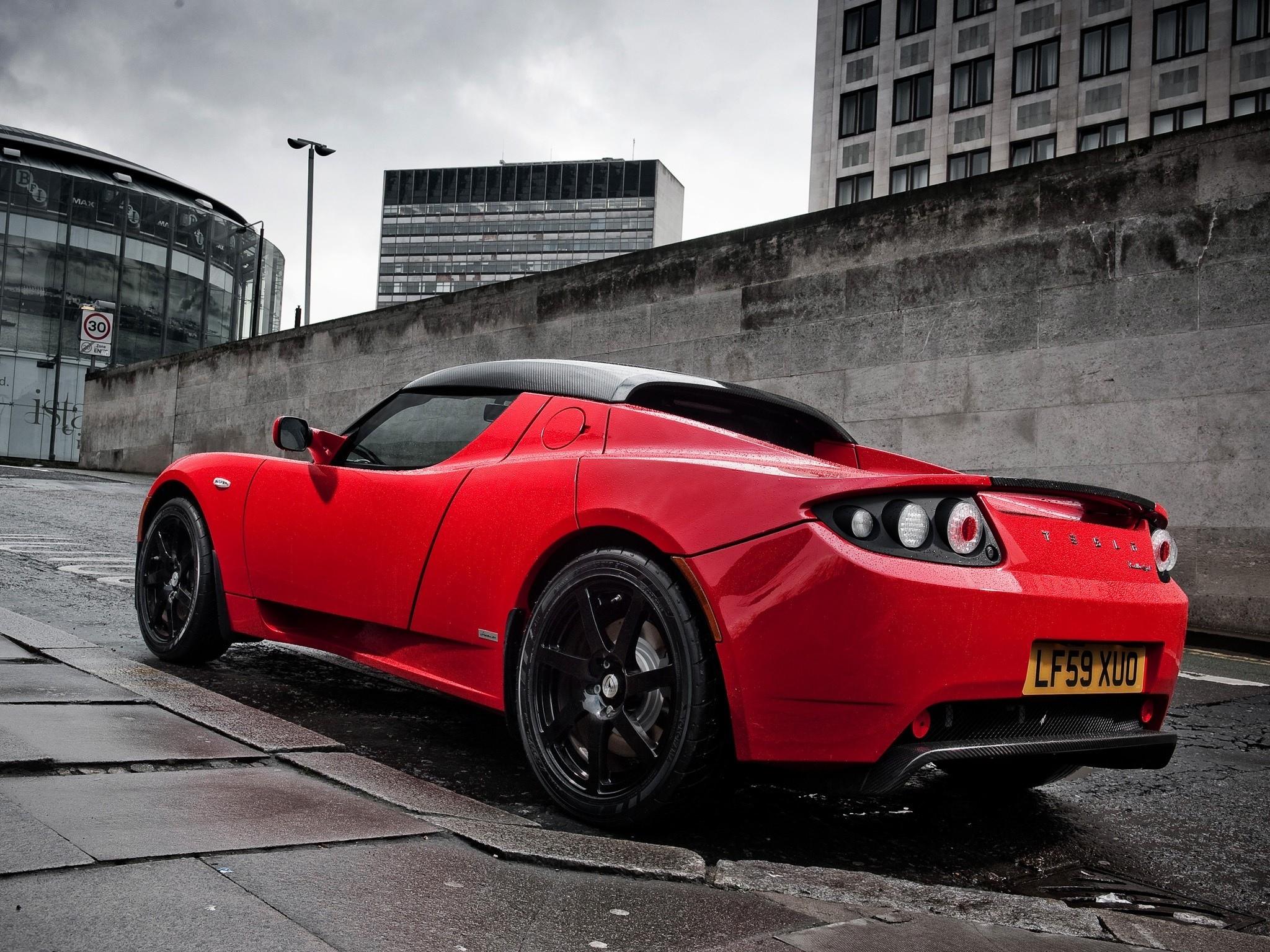 Wallpaper Sports Car Roadster Tesla Motors Performance