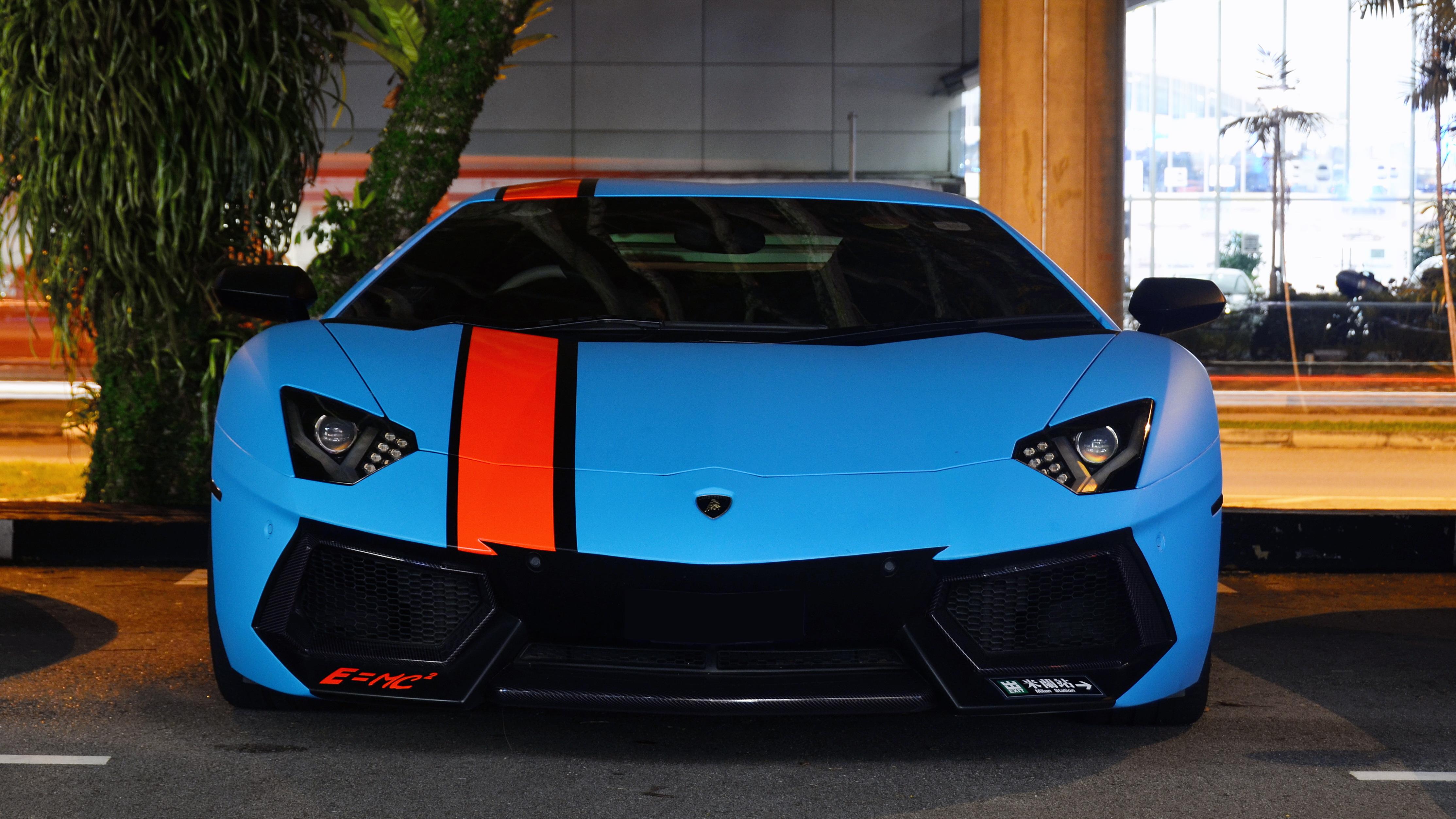 Wallpaper Supercars Blue Lamborghini Aventador Sports Car