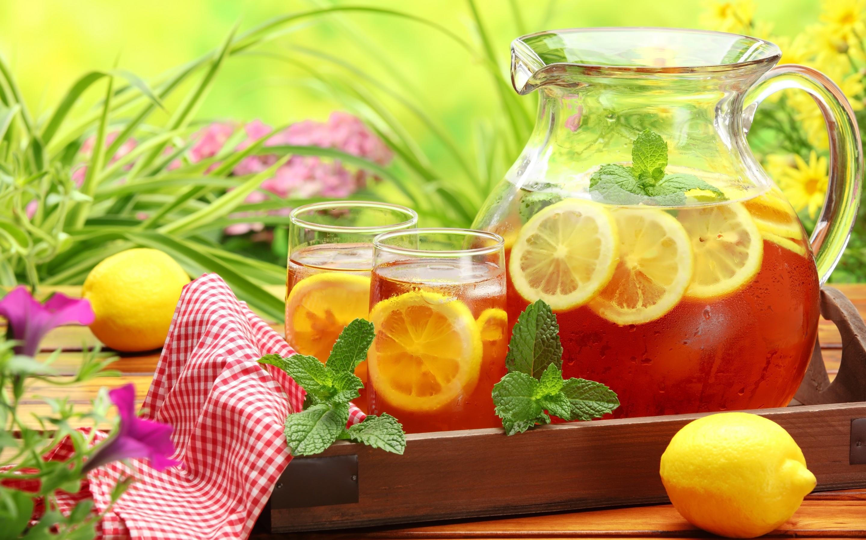 Wallpaper Carafe Table Napkin Glasses Ice Tea Drink Lemon Mint Flowers Herbs 2880x1800 1039367 Hd Wallpapers Wallhere