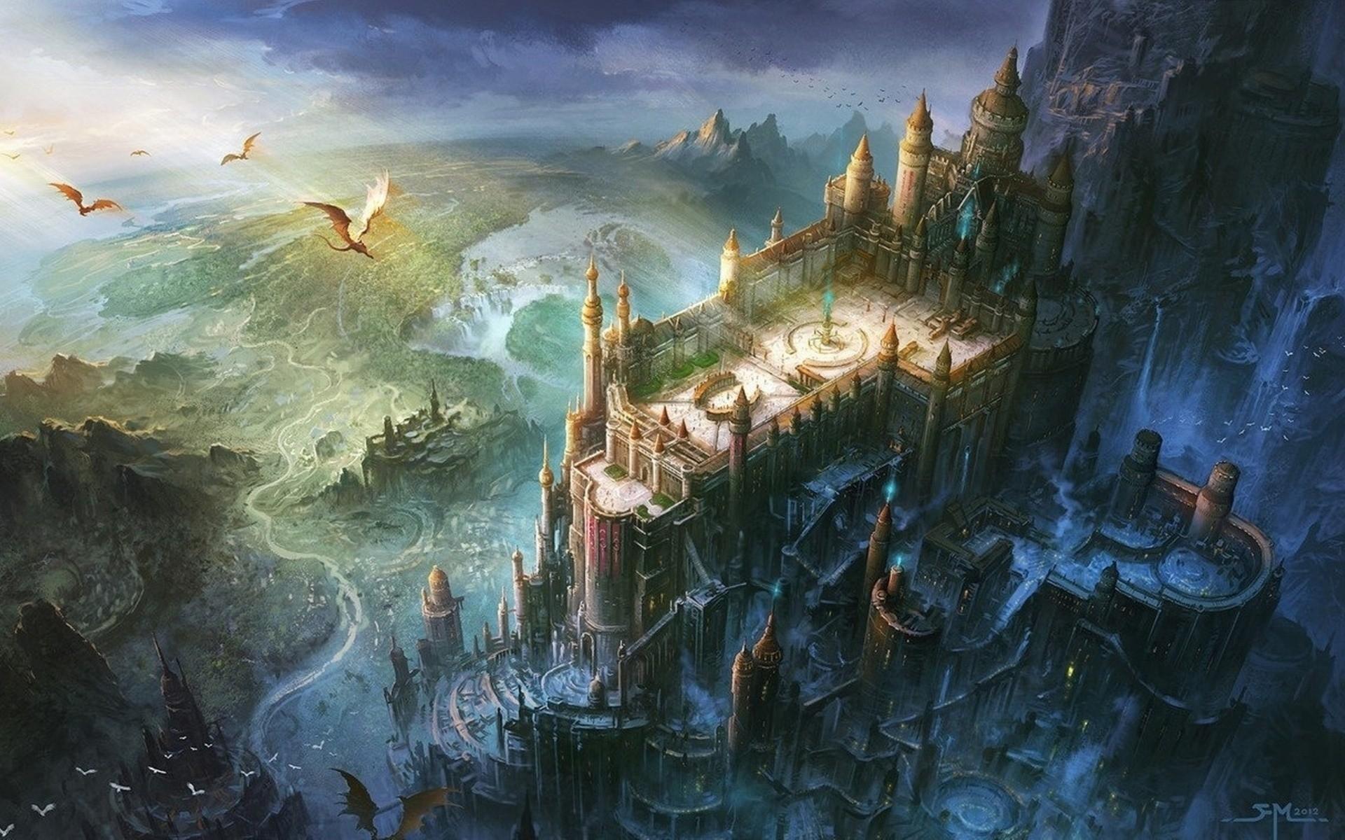 Wallpaper Castle Dragon Artwork Digital Art Minas Tirith