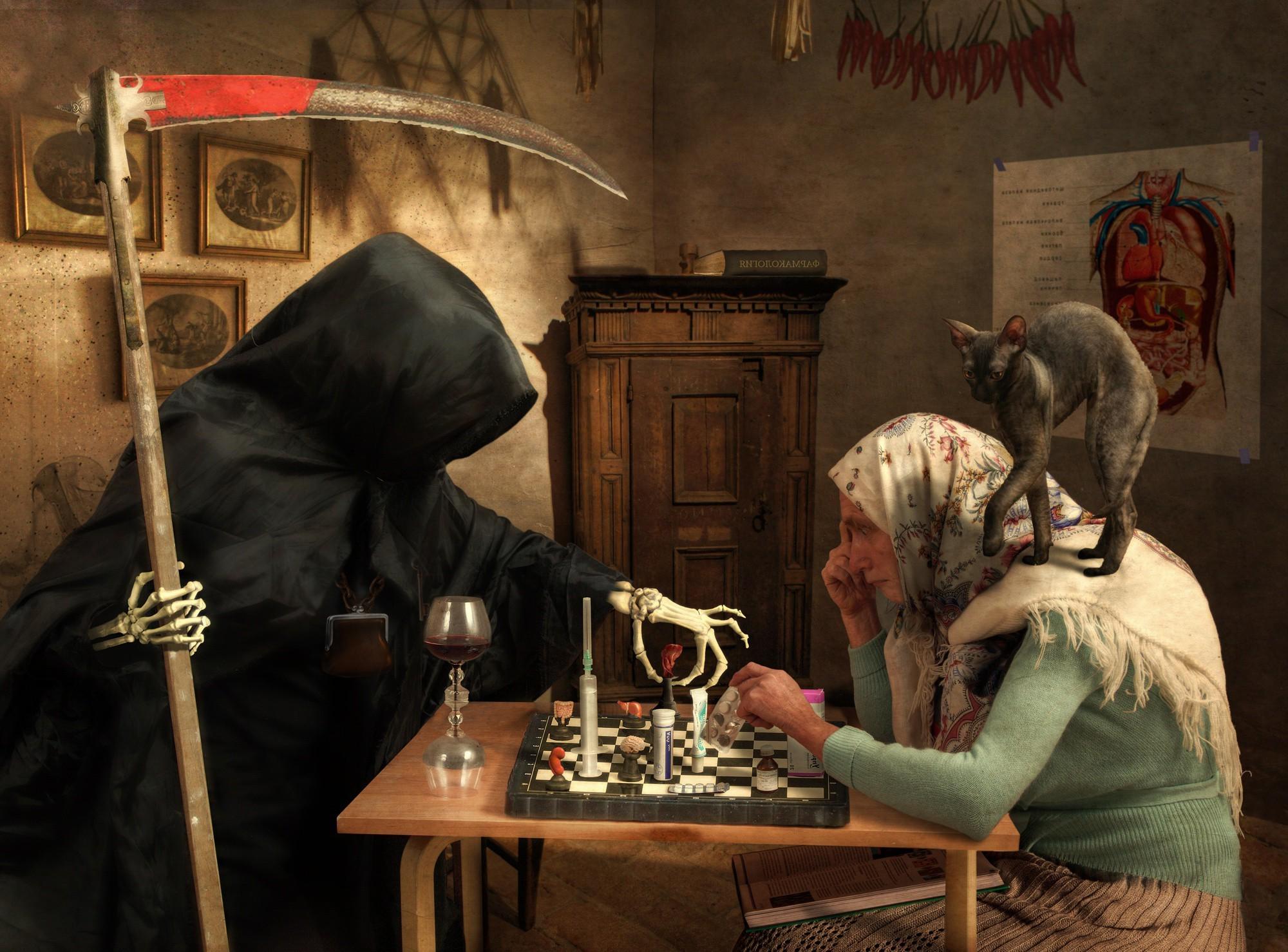 Wallpaper : cat, artwork, old people, death, Grim Reaper, ART, games