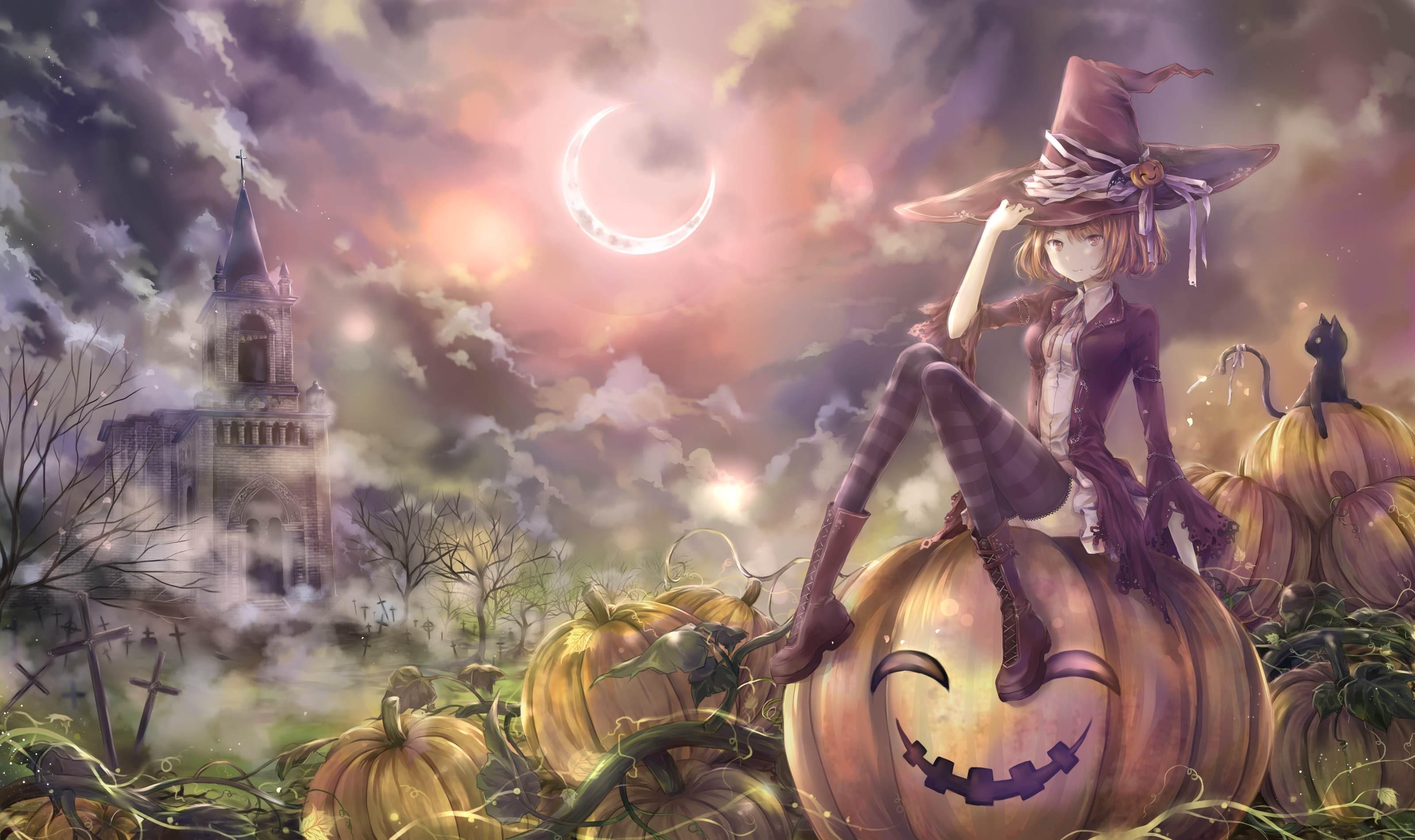 Wallpaper Cat Blonde Anime Girls Hat Halloween Pumpkin Clouds Moon Castle Thigh Highs Witch Mythology Screenshot Computer Wallpaper 3200x1900 Uaman 60452 Hd Wallpapers Wallhere