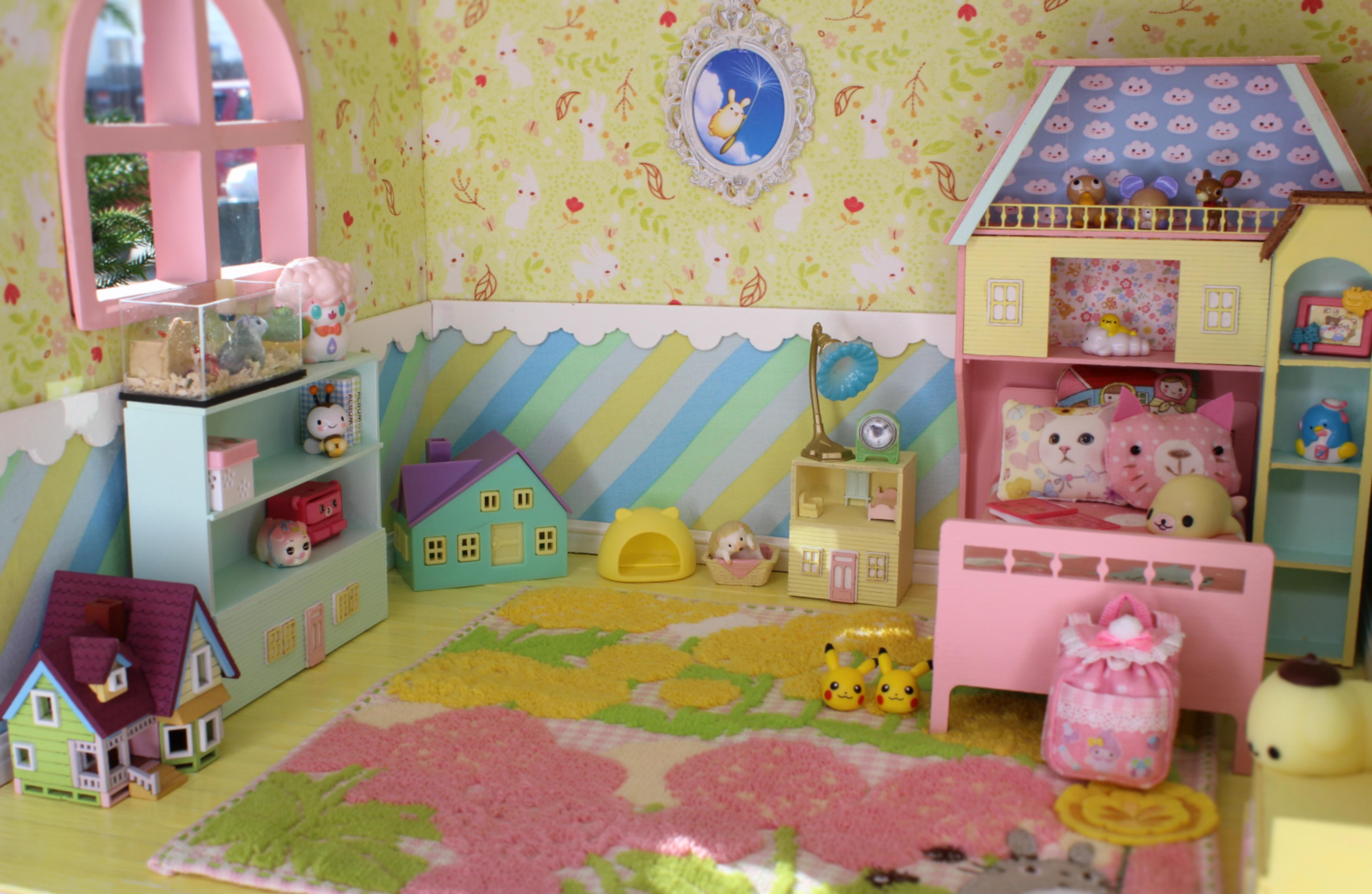 Dollhouse Furniture Infant Bed Room Set Toys For Doll