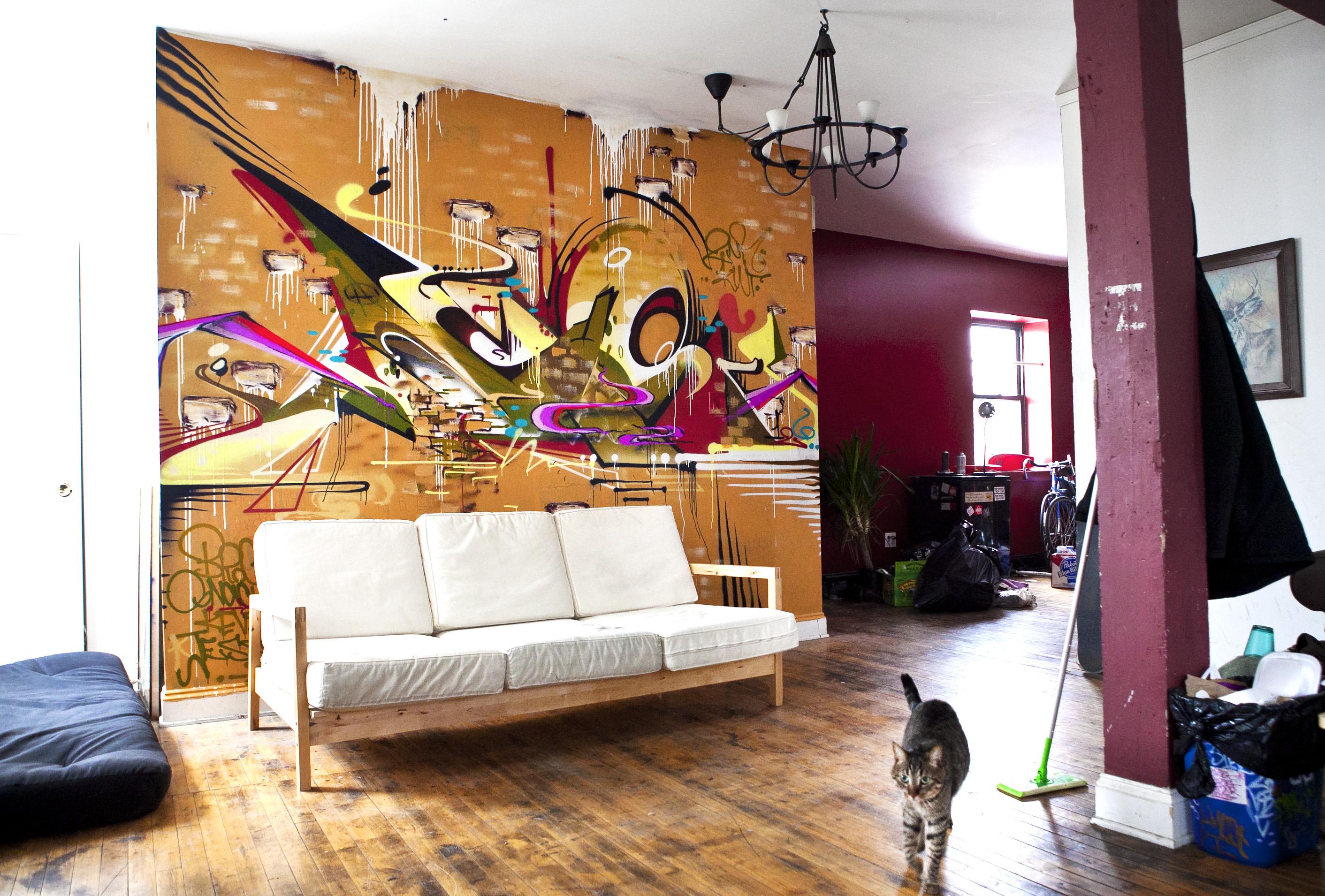 Papel De Parede Gato Quarto Parede Grafite Design De  ~ Papel De Parede Grafite Para Quarto