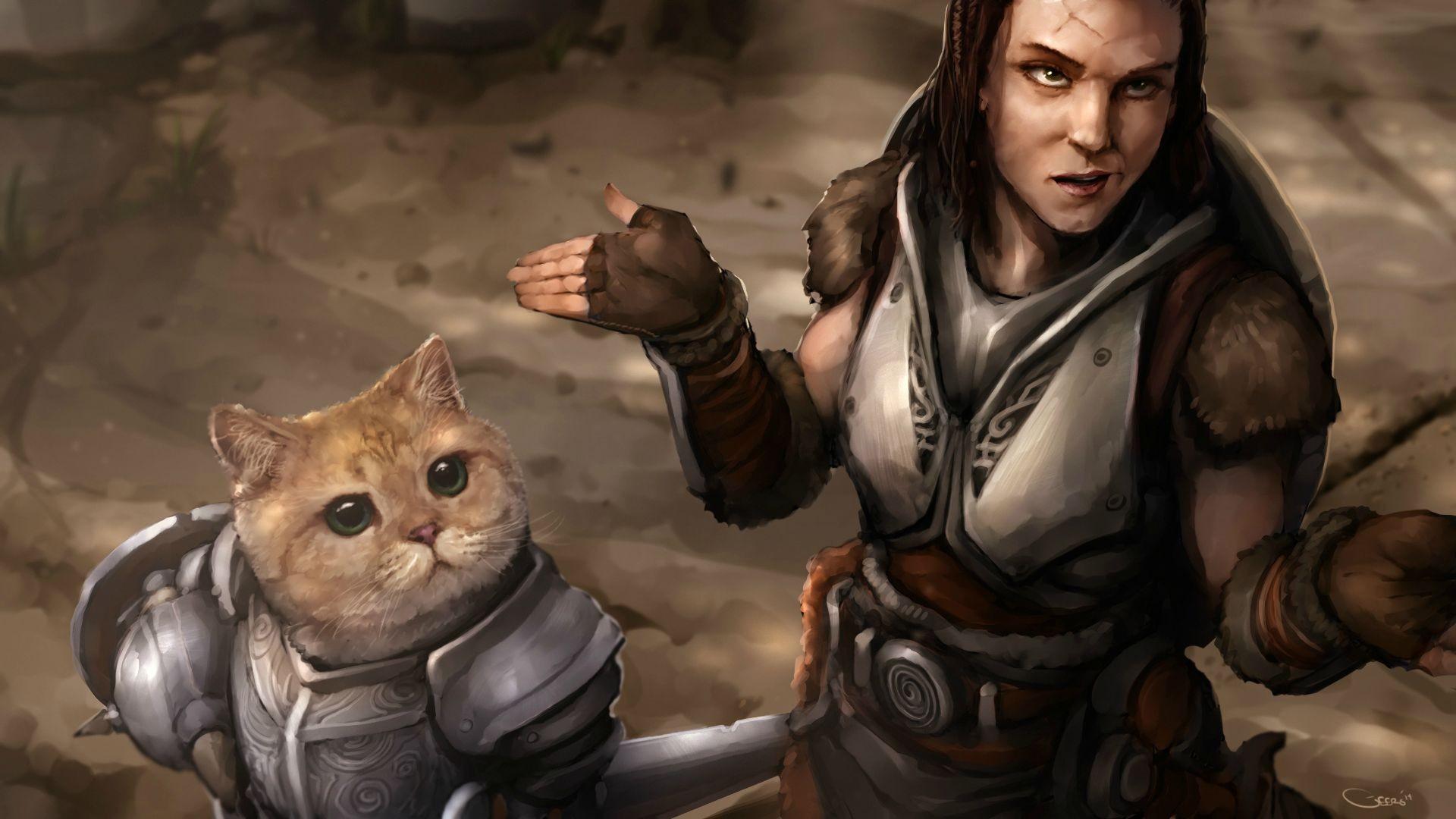 Wallpaper : cat, video games, The Elder Scrolls V Skyrim