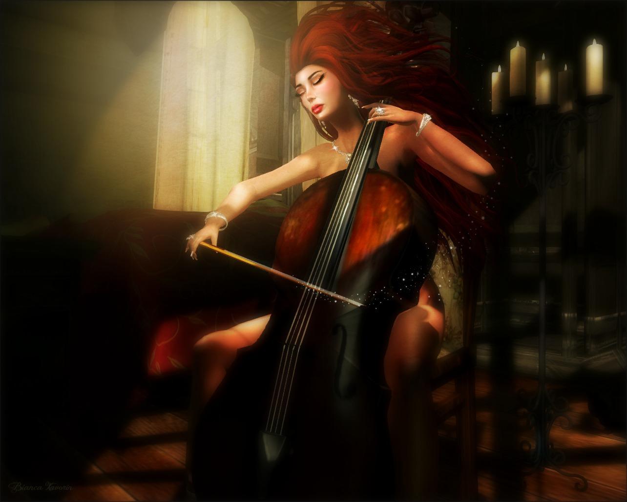 Cello Wallpaper Photo 22287 Hd Pictures: Wallpaper : Cello, Music, Redhair, Second, Life, Romantic