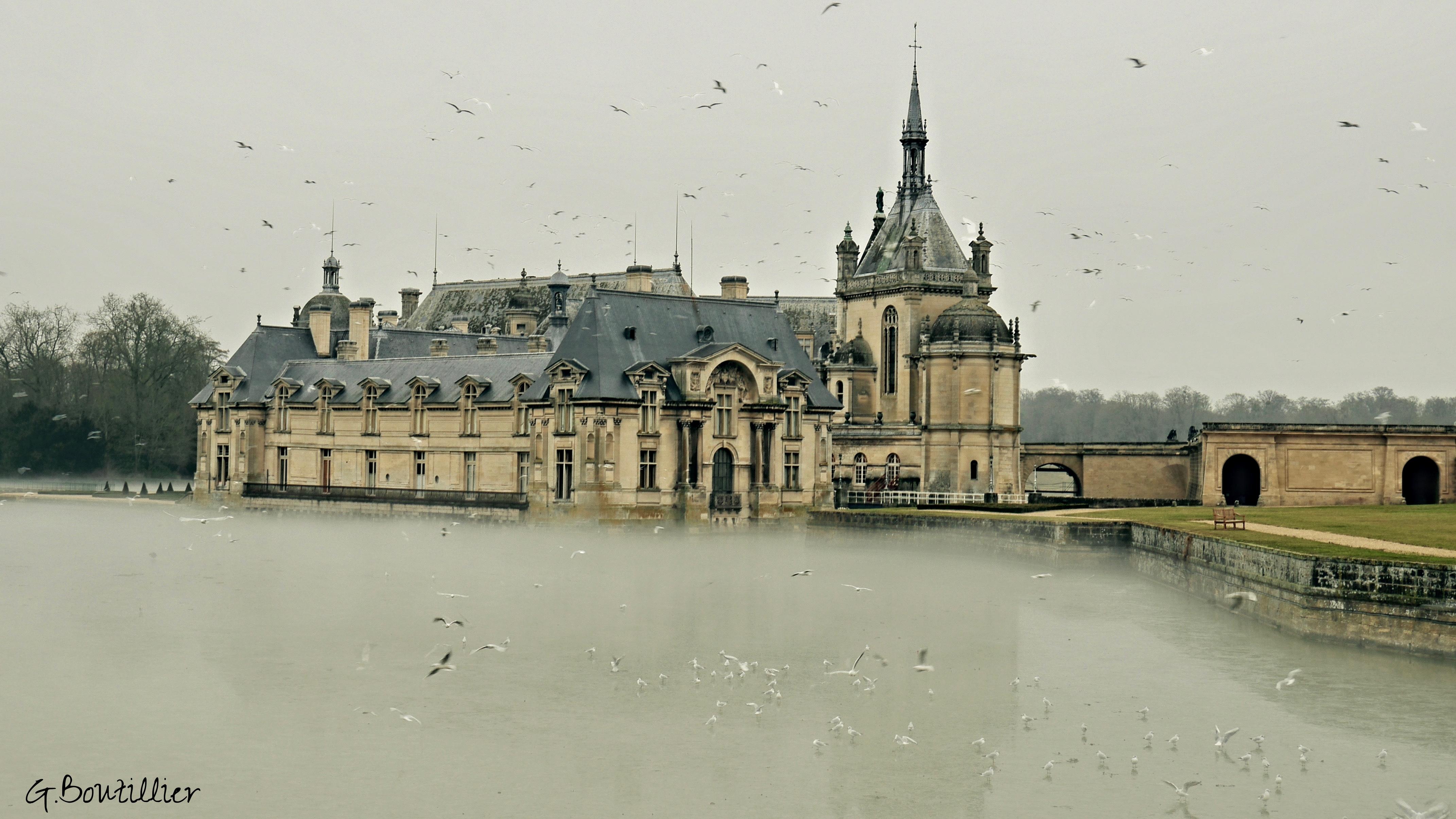 Banc En Pierre Ancien concernant fond d'écran : château, chantilly, oise, castel, france, picardie