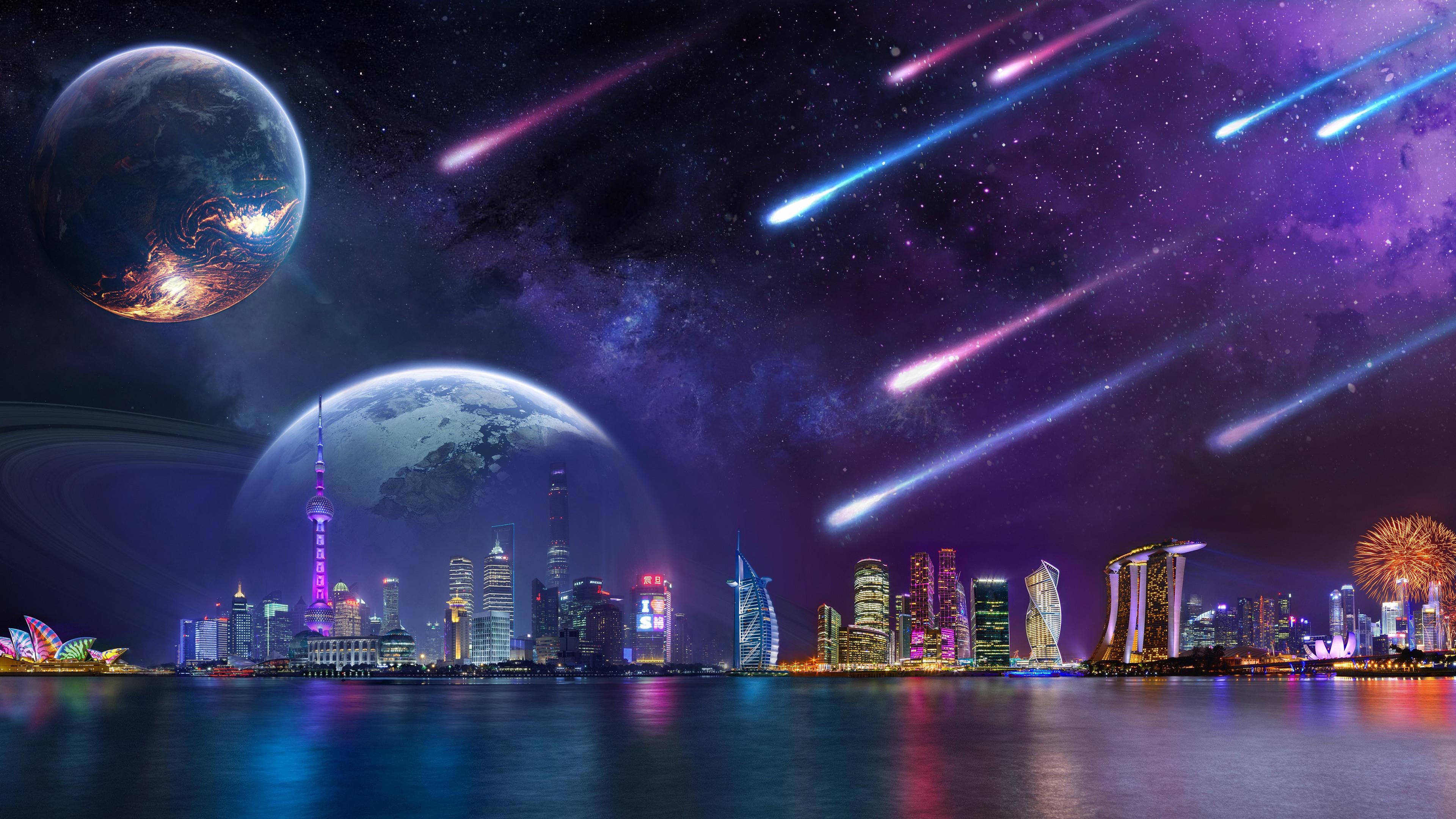 Wallpaper : city lights, tower, architecture, skyscraper ...